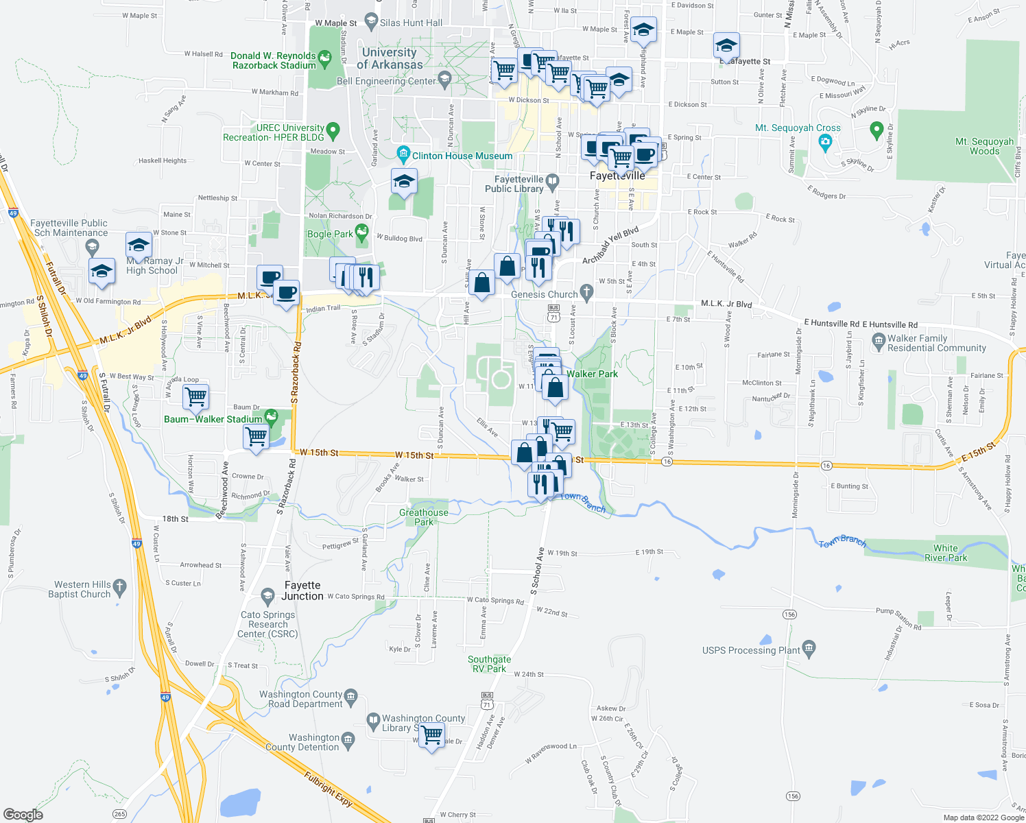 map of restaurants, bars, coffee shops, grocery stores, and more near 1212 Dunn Ave in Fayetteville