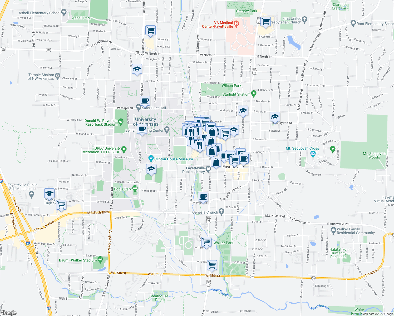 map of restaurants, bars, coffee shops, grocery stores, and more near 600 West Meadow Street in Fayetteville