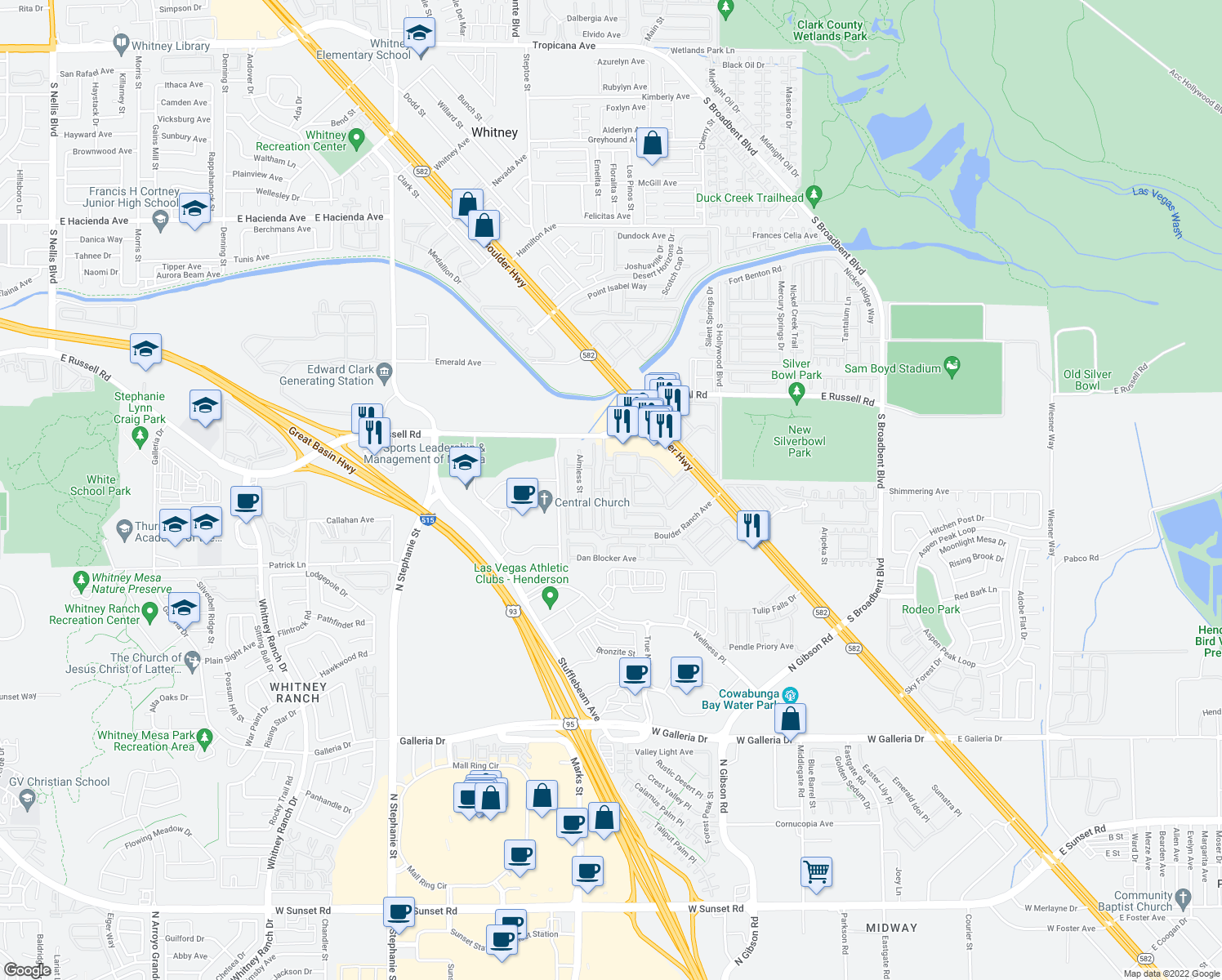 map of restaurants, bars, coffee shops, grocery stores, and more near Trickling Descent Street in Henderson