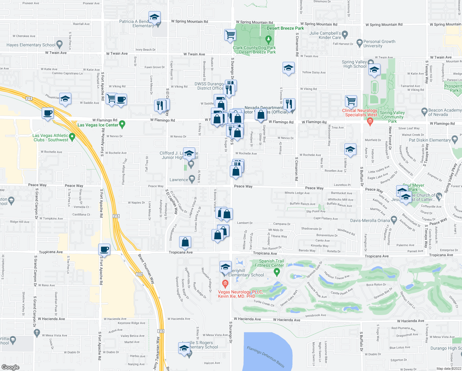 map of restaurants, bars, coffee shops, grocery stores, and more near S Durango Dr & Peace Way in Spring Valley