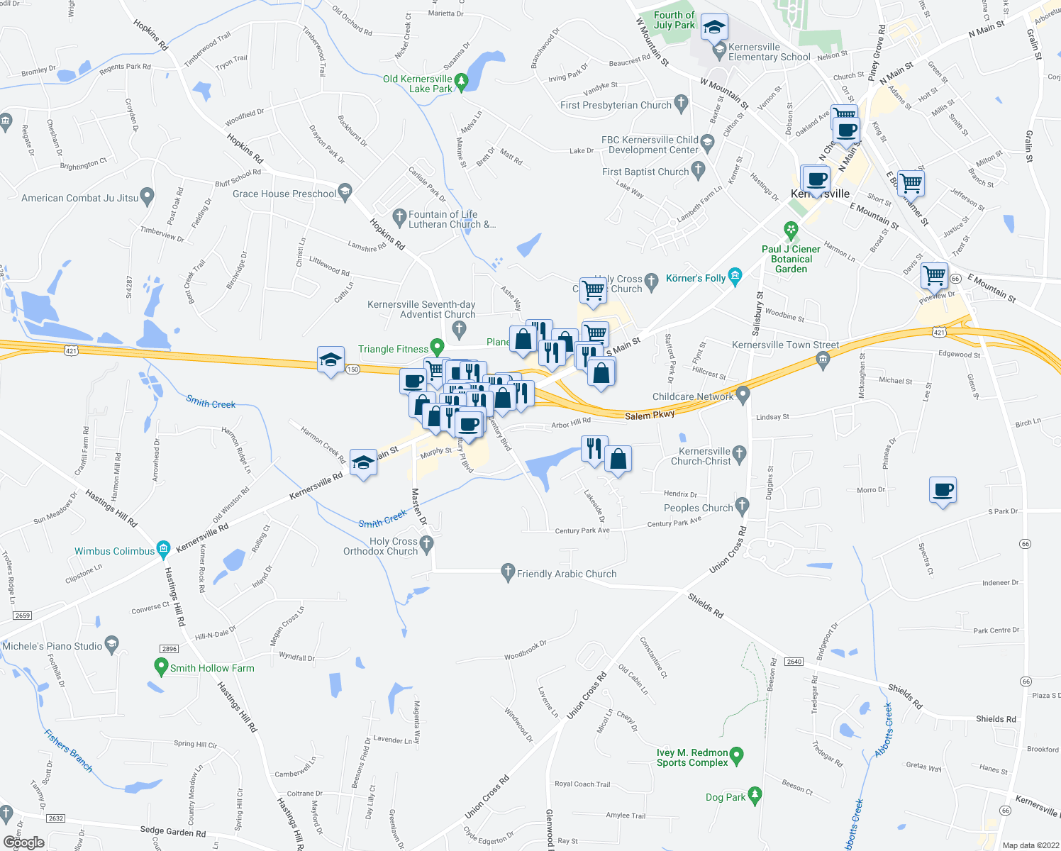 map of restaurants, bars, coffee shops, grocery stores, and more near 549 Arbor Hill Rd in Winston-Salem