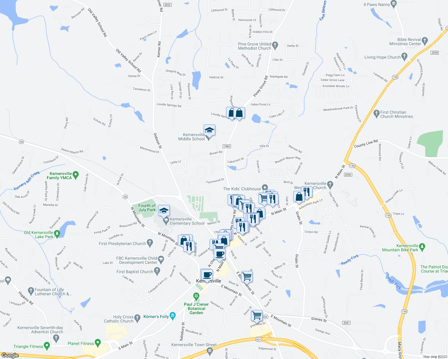 map of restaurants, bars, coffee shops, grocery stores, and more near 604 Farmwood Drive in Kernersville
