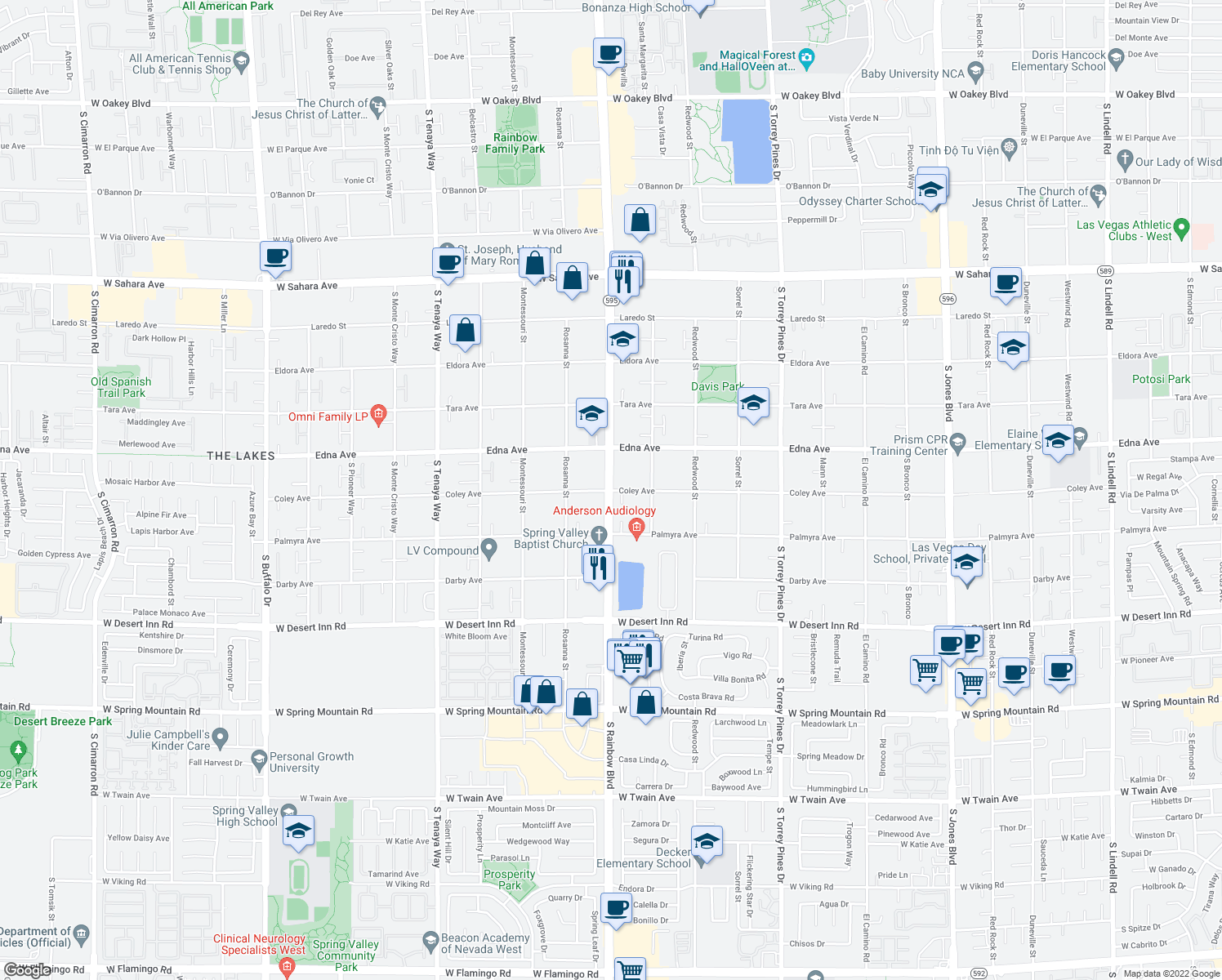 map of restaurants, bars, coffee shops, grocery stores, and more near S Rainbow Blvd & Coley Ave in Spring Valley