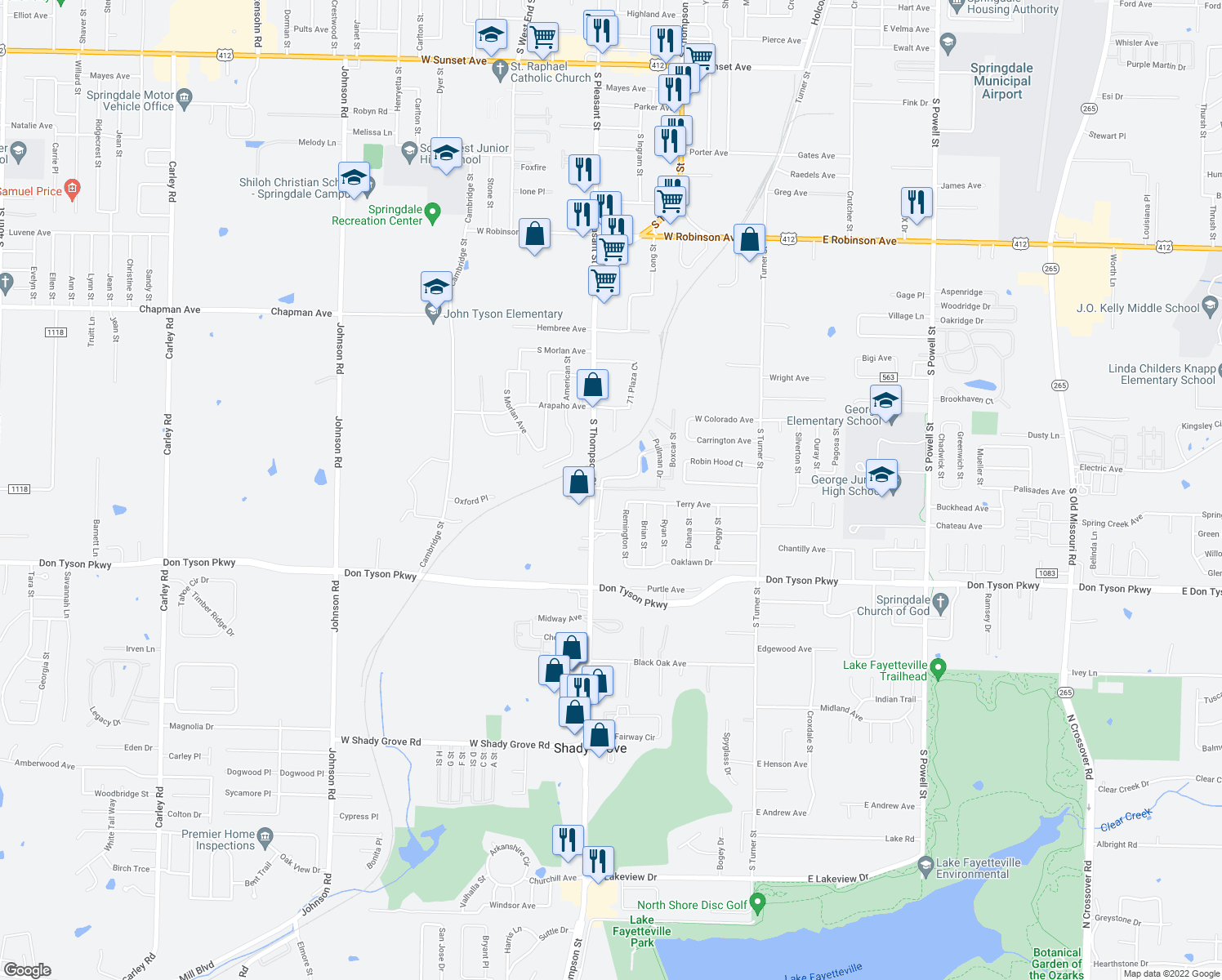 map of restaurants, bars, coffee shops, grocery stores, and more near 3291 S Thompson St in Springdale