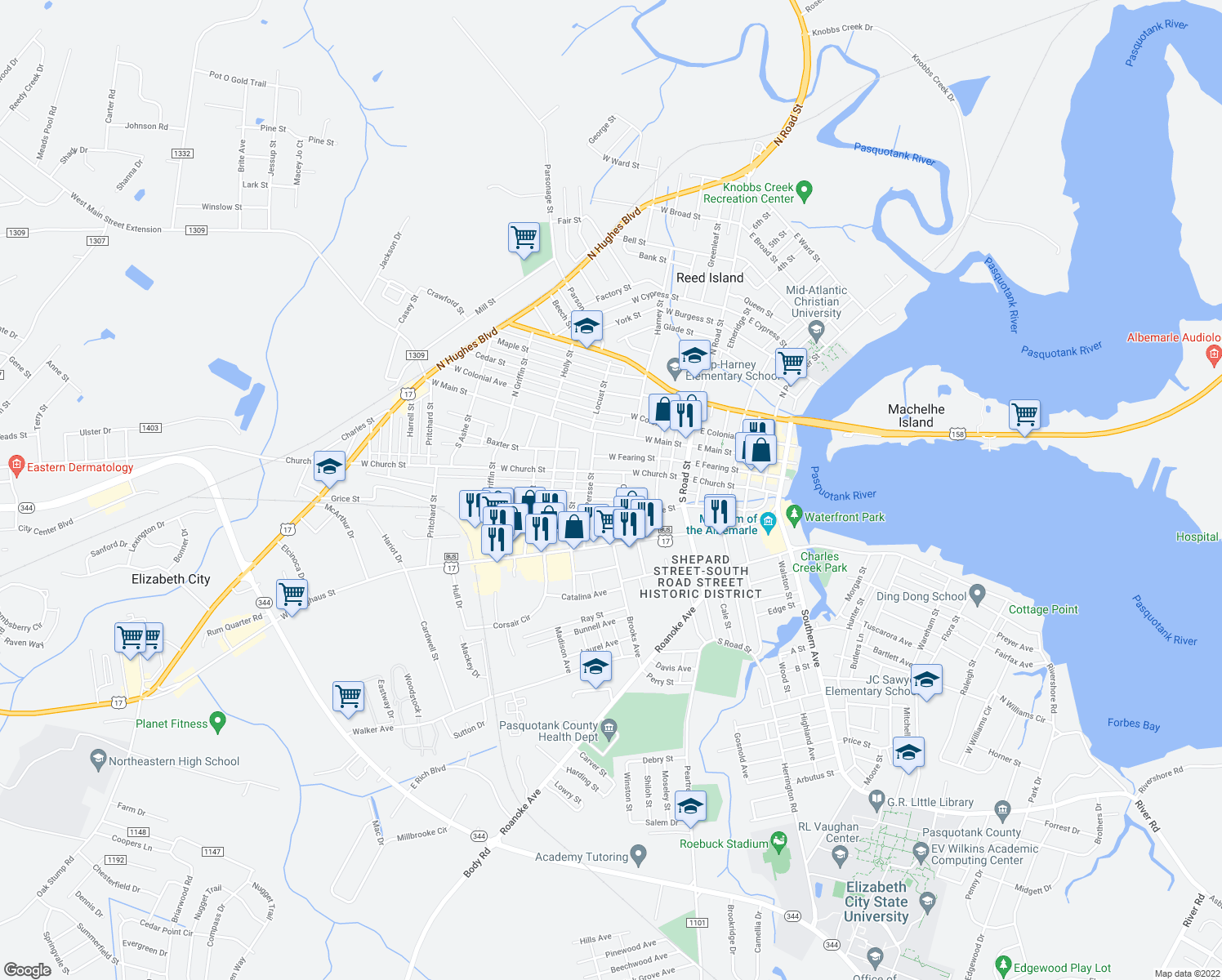 map of restaurants, bars, coffee shops, grocery stores, and more near 505 Dunstan Lane in Elizabeth City