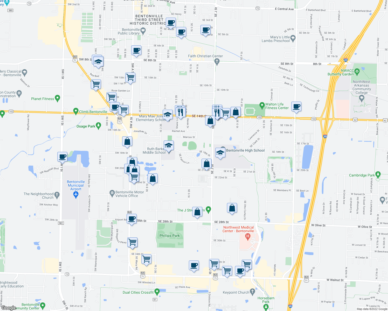map of restaurants, bars, coffee shops, grocery stores, and more near 1000 Southeast Falcon Lane in Bentonville