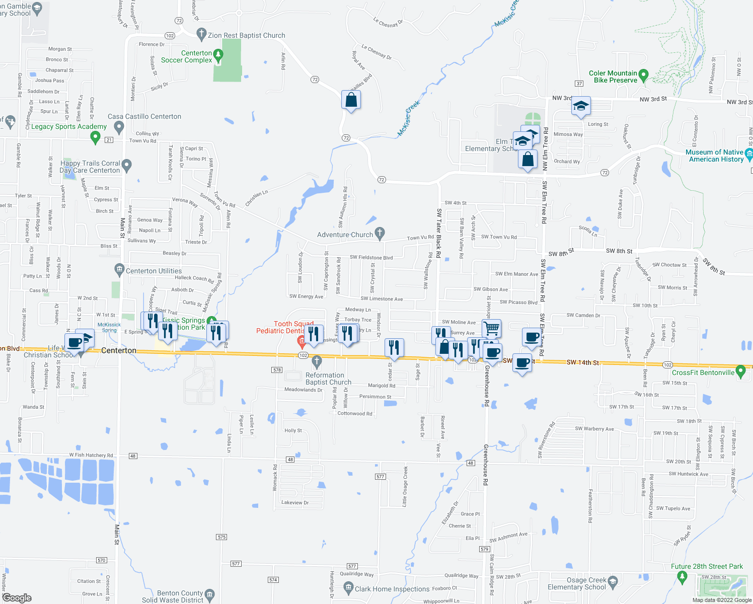map of restaurants, bars, coffee shops, grocery stores, and more near 1281 Medway Lane in Centerton
