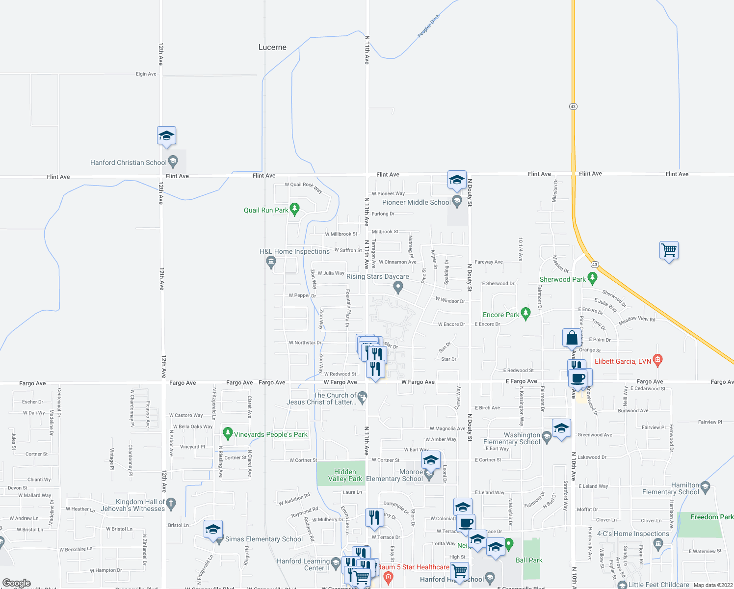 map of restaurants, bars, coffee shops, grocery stores, and more near 537 W Pepper Dr in Hanford