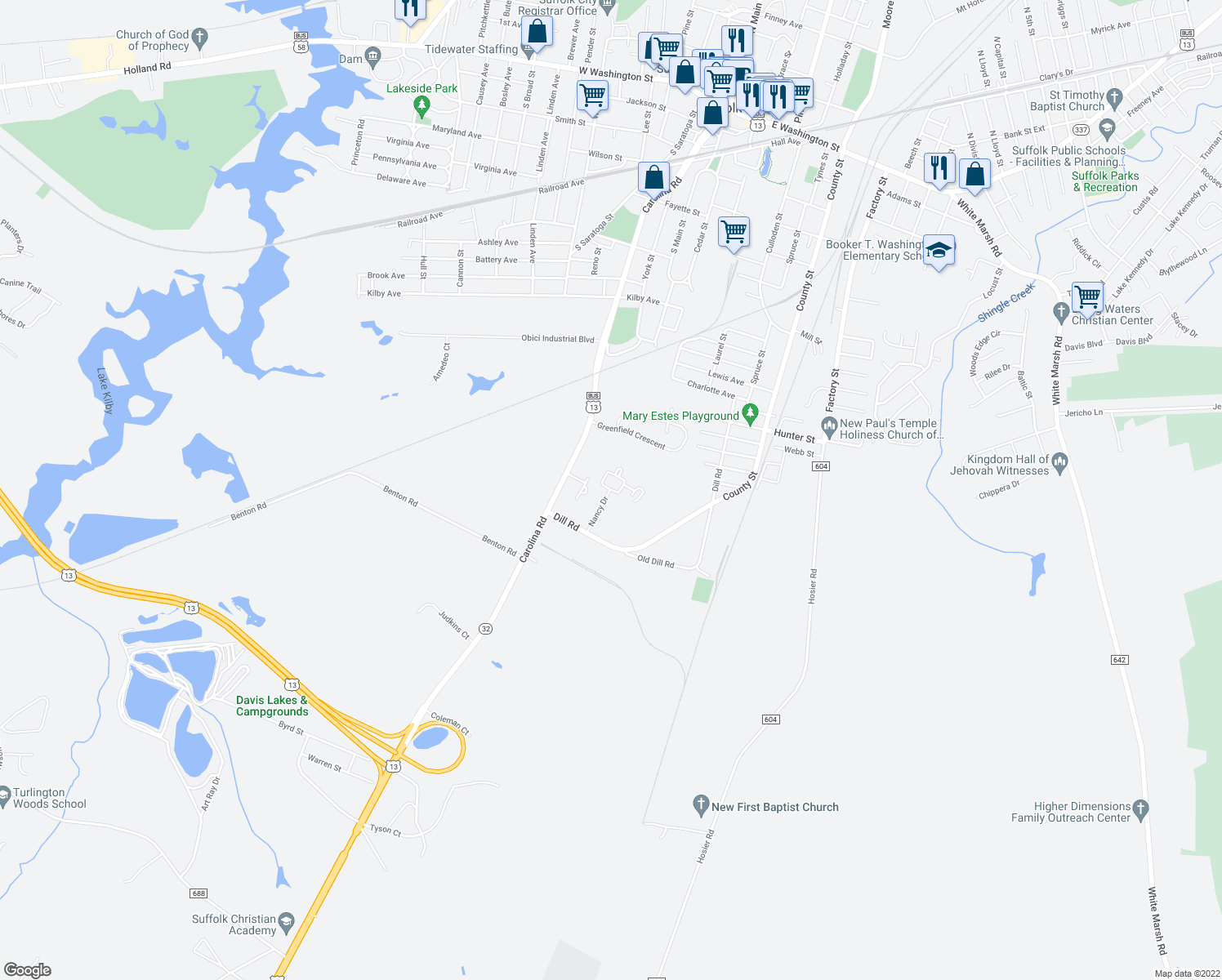 map of restaurants, bars, coffee shops, grocery stores, and more near 114 Nancy Drive in Suffolk