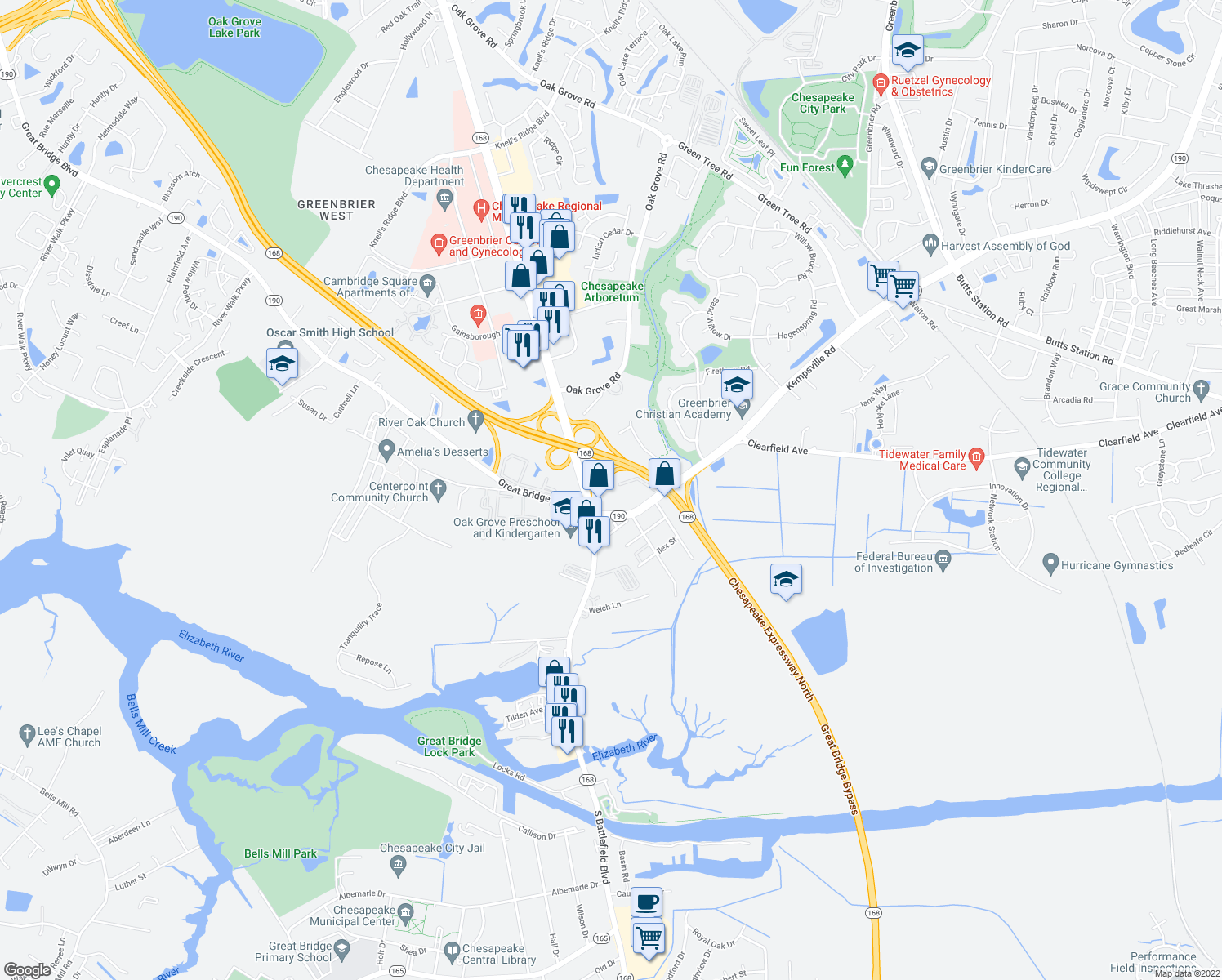 map of restaurants, bars, coffee shops, grocery stores, and more near 137 Kempsville Rd in Chesapeake