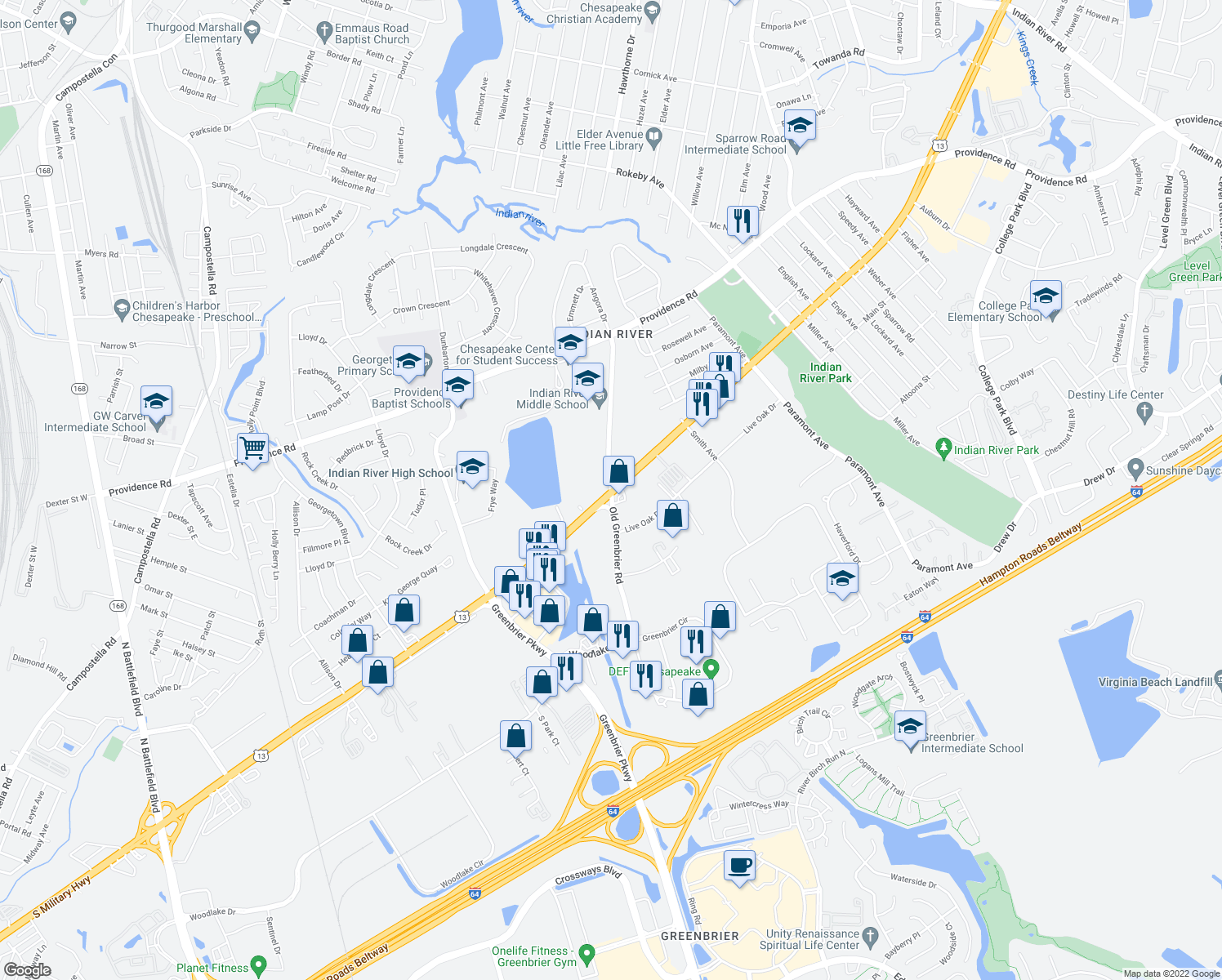 map of restaurants, bars, coffee shops, grocery stores, and more near S Military Hwy & Old Greenbrier Rd in Chesapeake