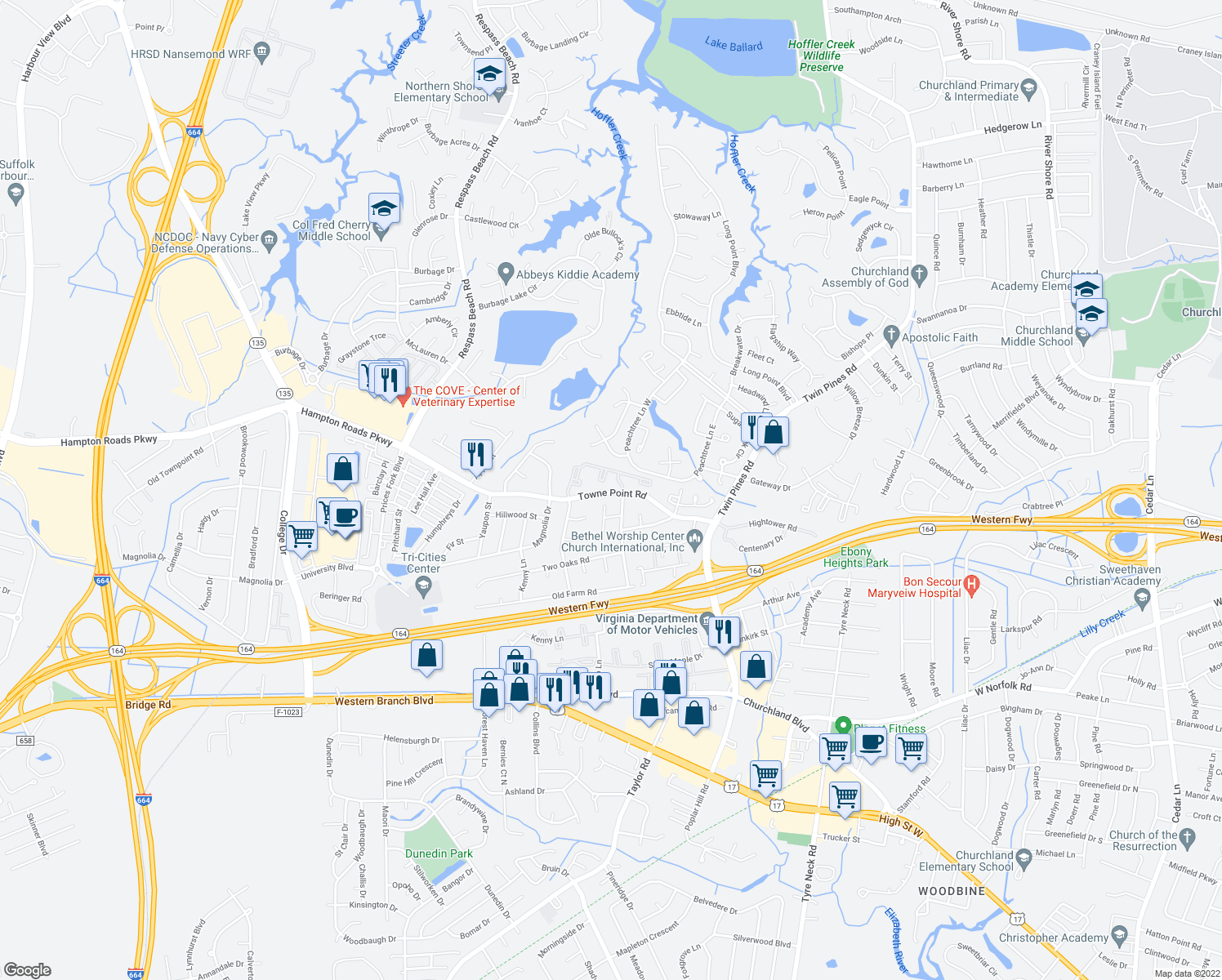 map of restaurants, bars, coffee shops, grocery stores, and more near 3798 Towne Point Road in Portsmou