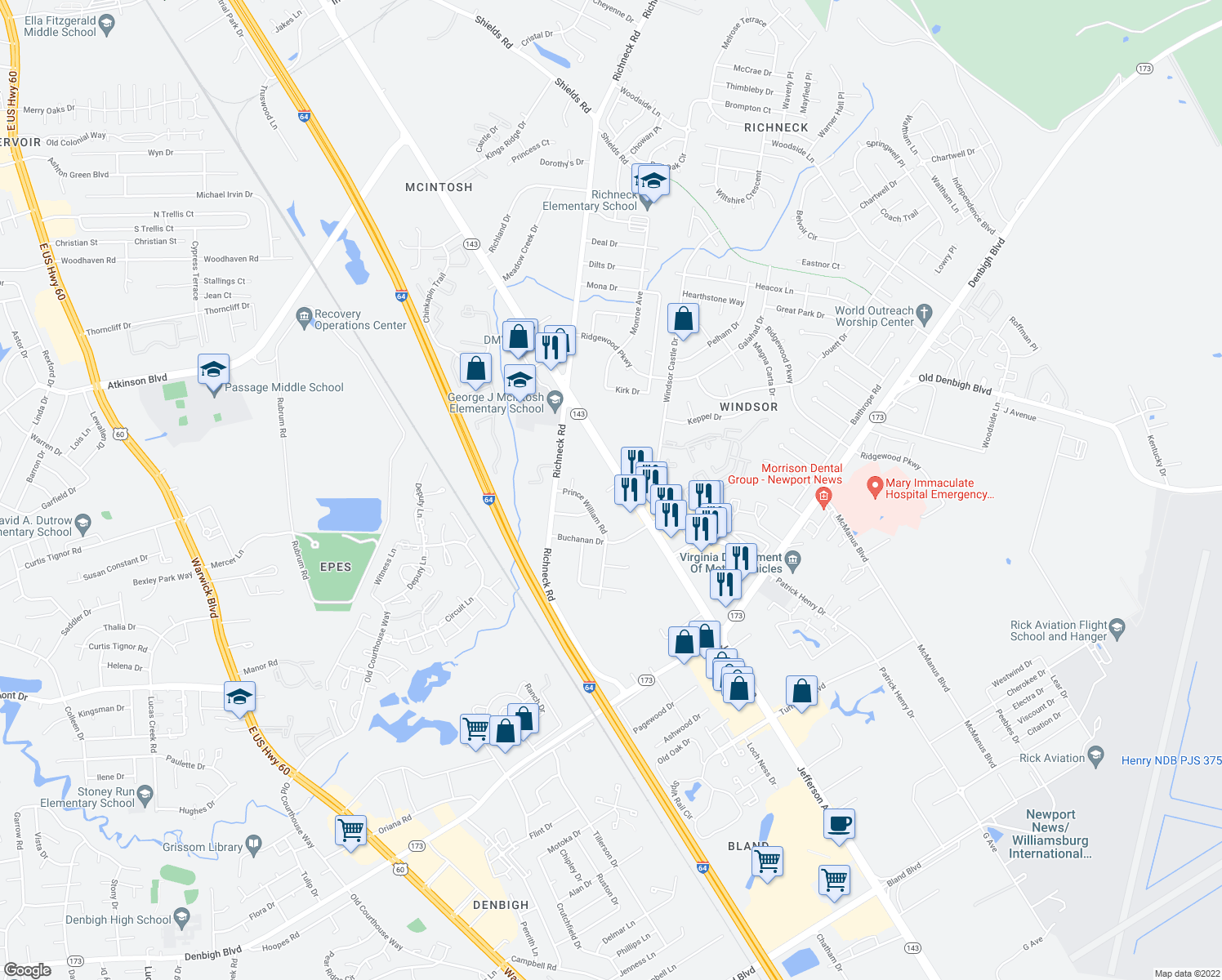 map of restaurants, bars, coffee shops, grocery stores, and more near 2-98 Hanover Way in Newport News