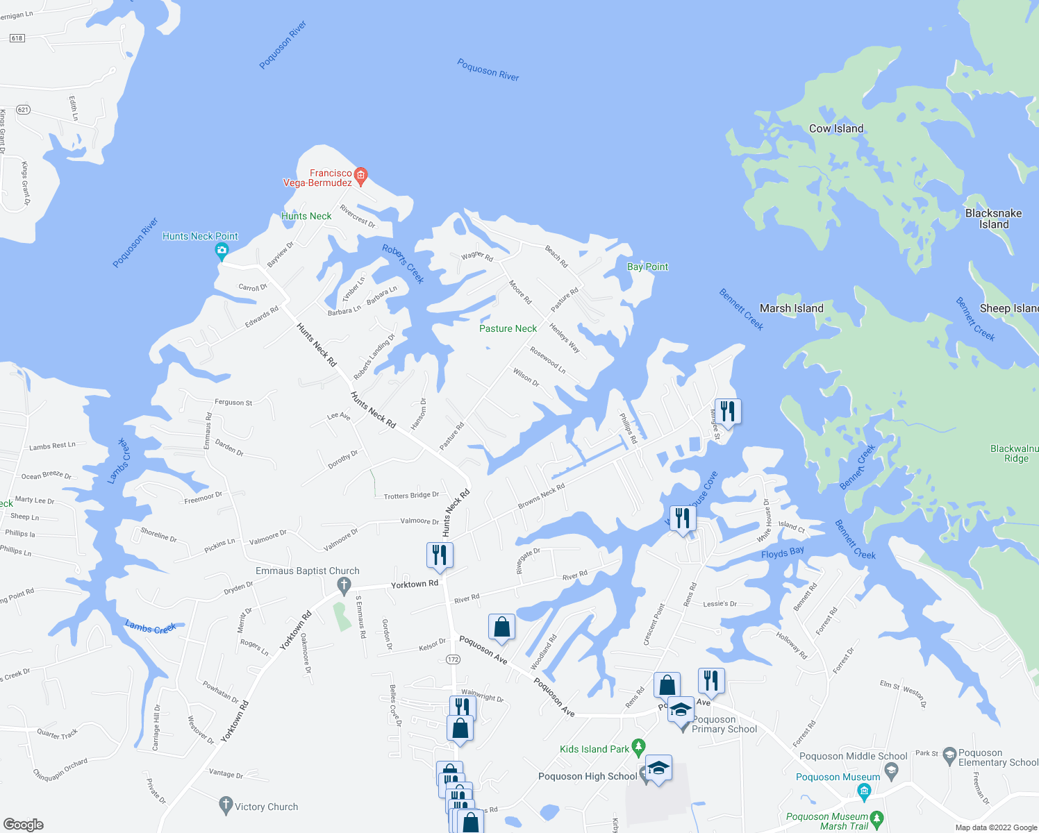 map of restaurants, bars, coffee shops, grocery stores, and more near 1-99 Lyons Creek Drive in Poquoson