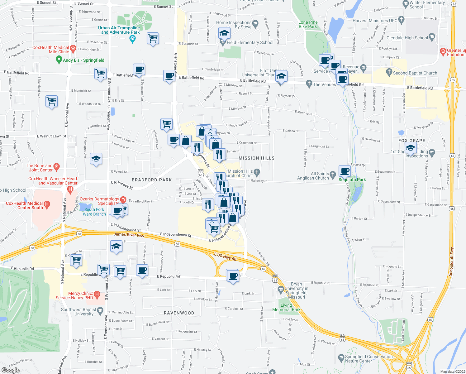 map of restaurants, bars, coffee shops, grocery stores, and more near 2127 East Macs Court in Springfield
