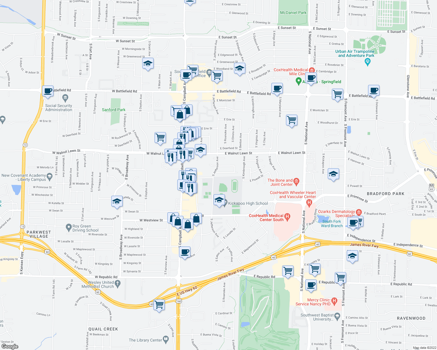 map of restaurants, bars, coffee shops, grocery stores, and more near 422 E Arrowhead St in Springfield