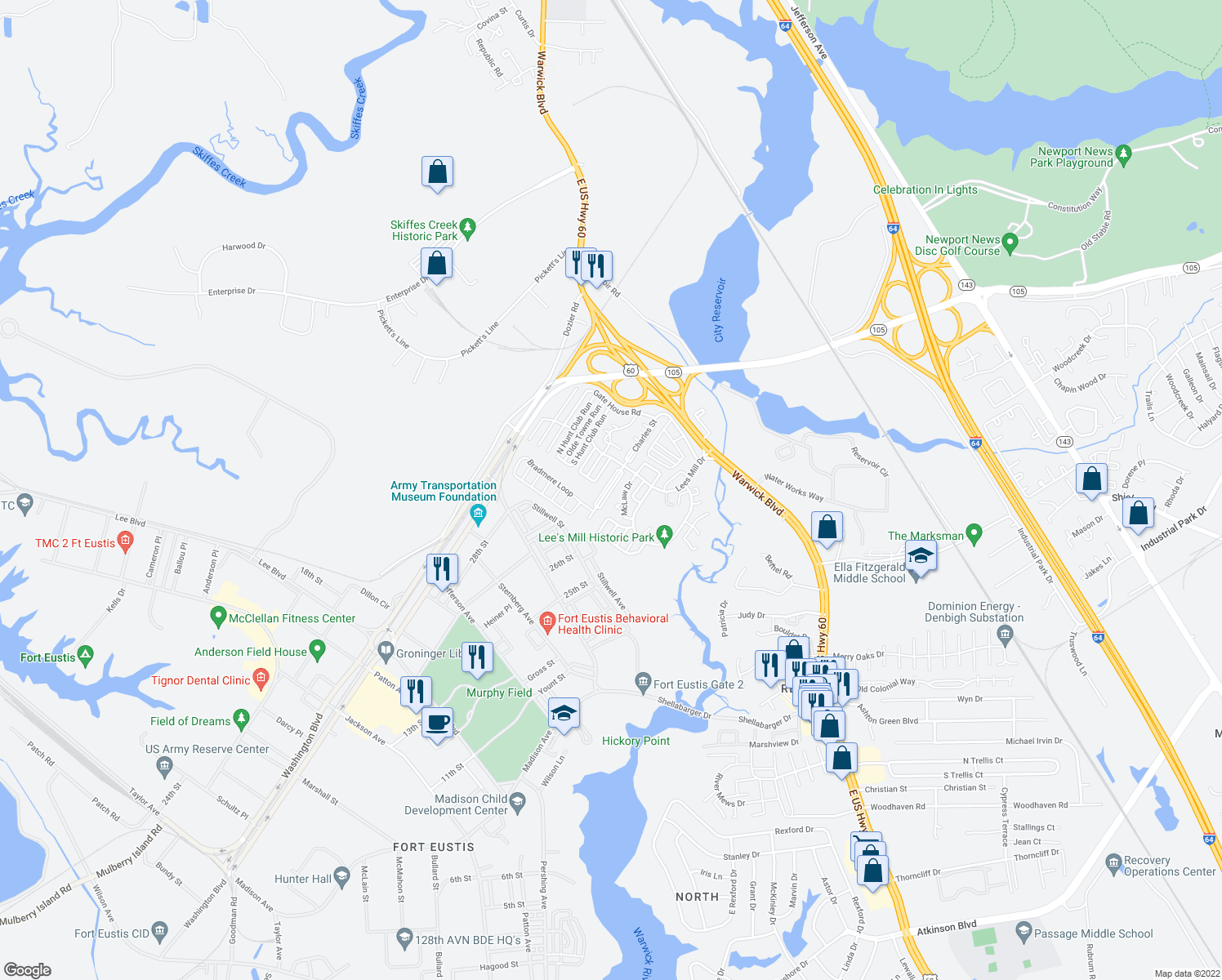 map of restaurants, bars, coffee shops, grocery stores, and more near 618-620 McLaw Drive in Newport News