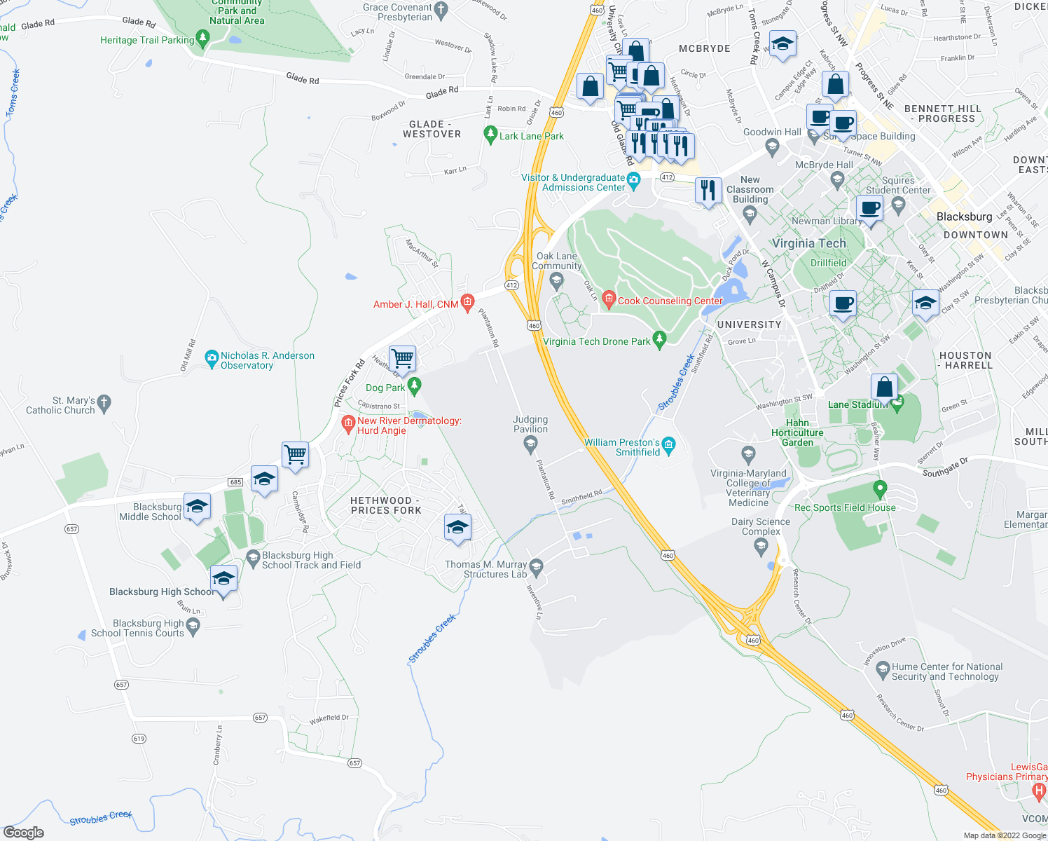 map of restaurants, bars, coffee shops, grocery stores, and more near Plantation Rd in Blacksburg