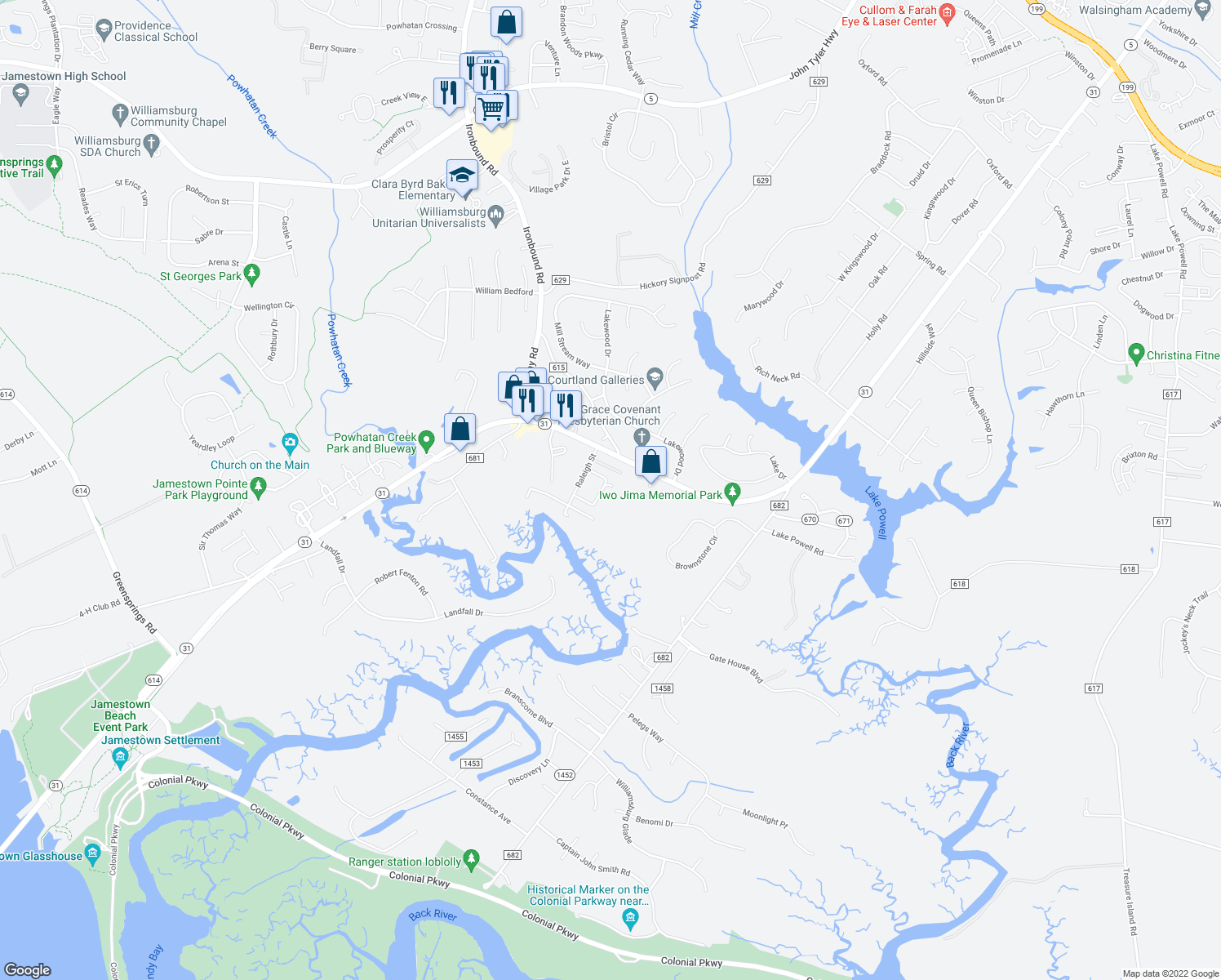 map of restaurants, bars, coffee shops, grocery stores, and more near 133 Albemarle Drive in Williamsburg