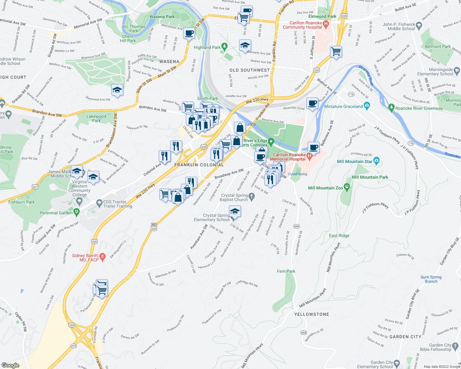 map of restaurants, bars, coffee shops, grocery stores, and more near Avenham Ave SW & 24th St SW in Roanoke