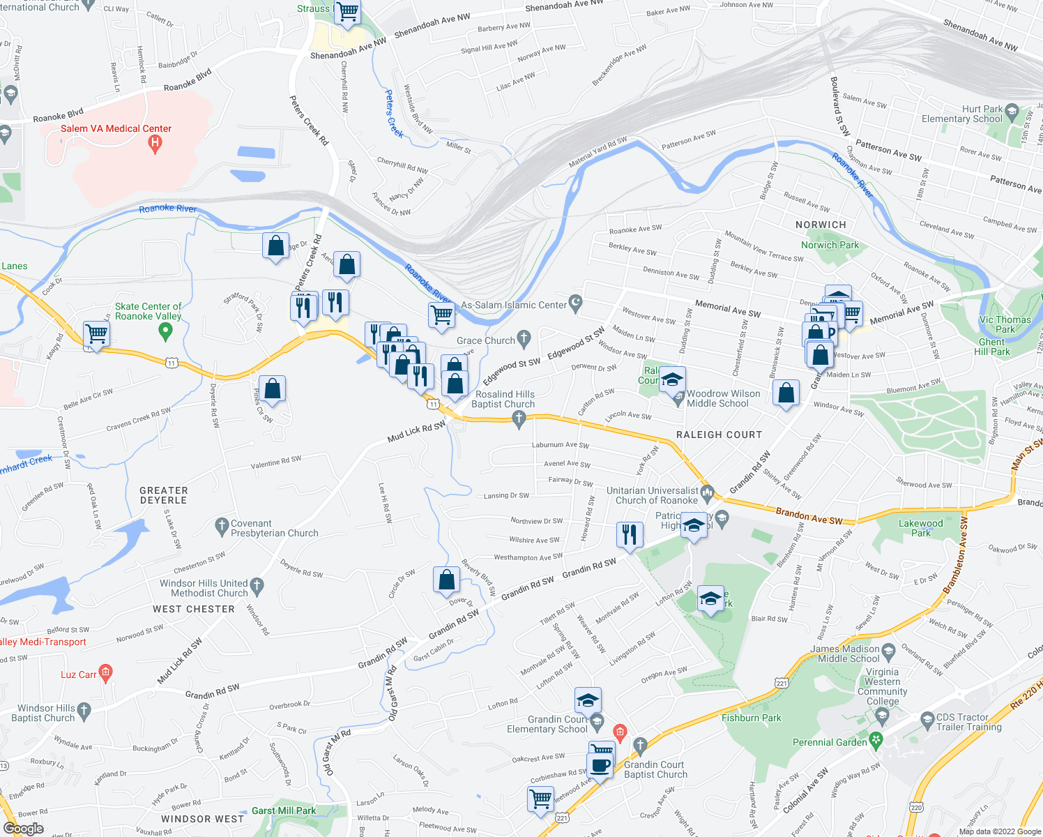 map of restaurants, bars, coffee shops, grocery stores, and more near 2773 Brandon Ave SW in Roanoke