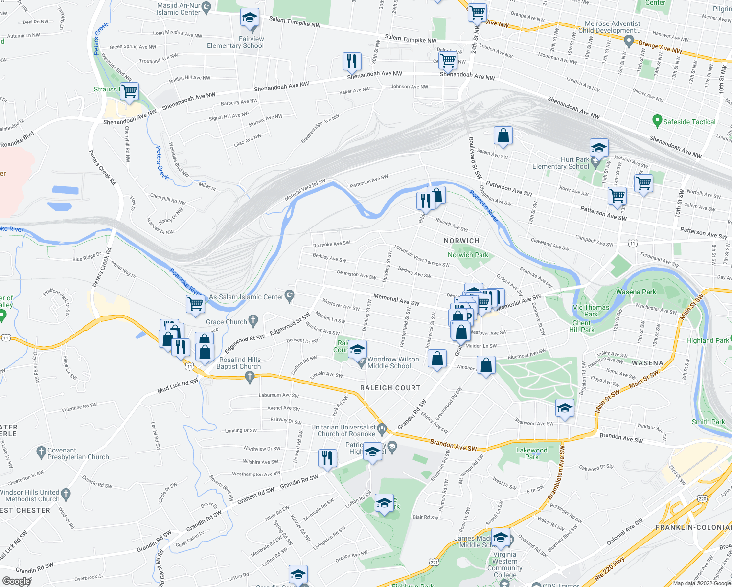 map of restaurants, bars, coffee shops, grocery stores, and more near 2343 Memorial Ave SW in Roanoke