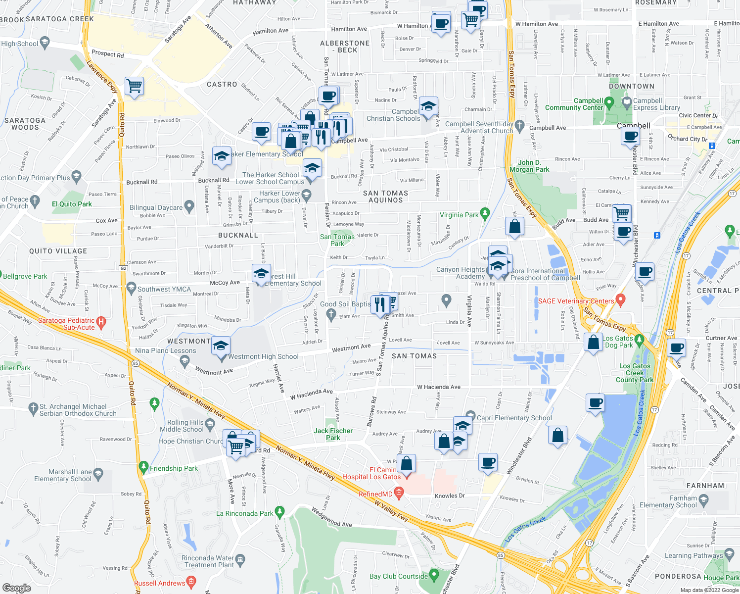 map of restaurants, bars, coffee shops, grocery stores, and more near 1259 Cobblestone Drive in Campbell