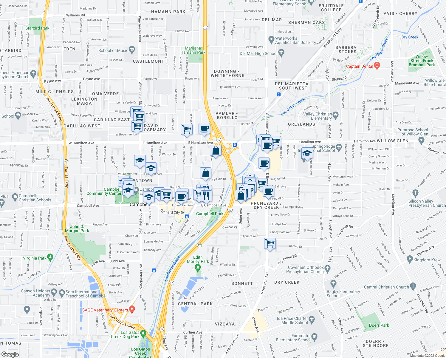 map of restaurants, bars, coffee shops, grocery stores, and more near 663 El Patio Dr in Campbell