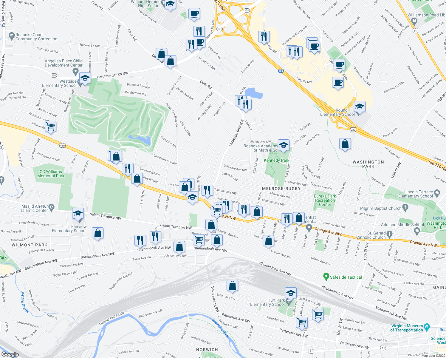 map of restaurants, bars, coffee shops, grocery stores, and more near 2445 Maryland Ave NW in Roanoke