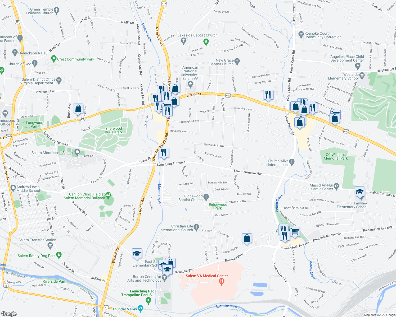 map of restaurants, bars, coffee shops, grocery stores, and more near 5236 Victoria St NW in Roanoke