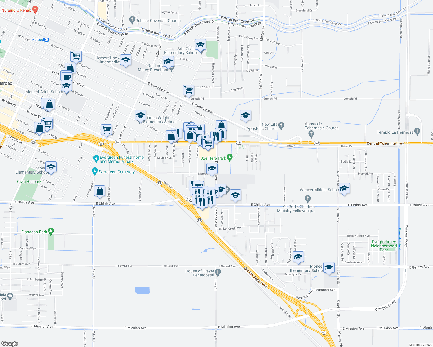 map of restaurants, bars, coffee shops, grocery stores, and more near N Parsons Ave & Merced Ave in Merced