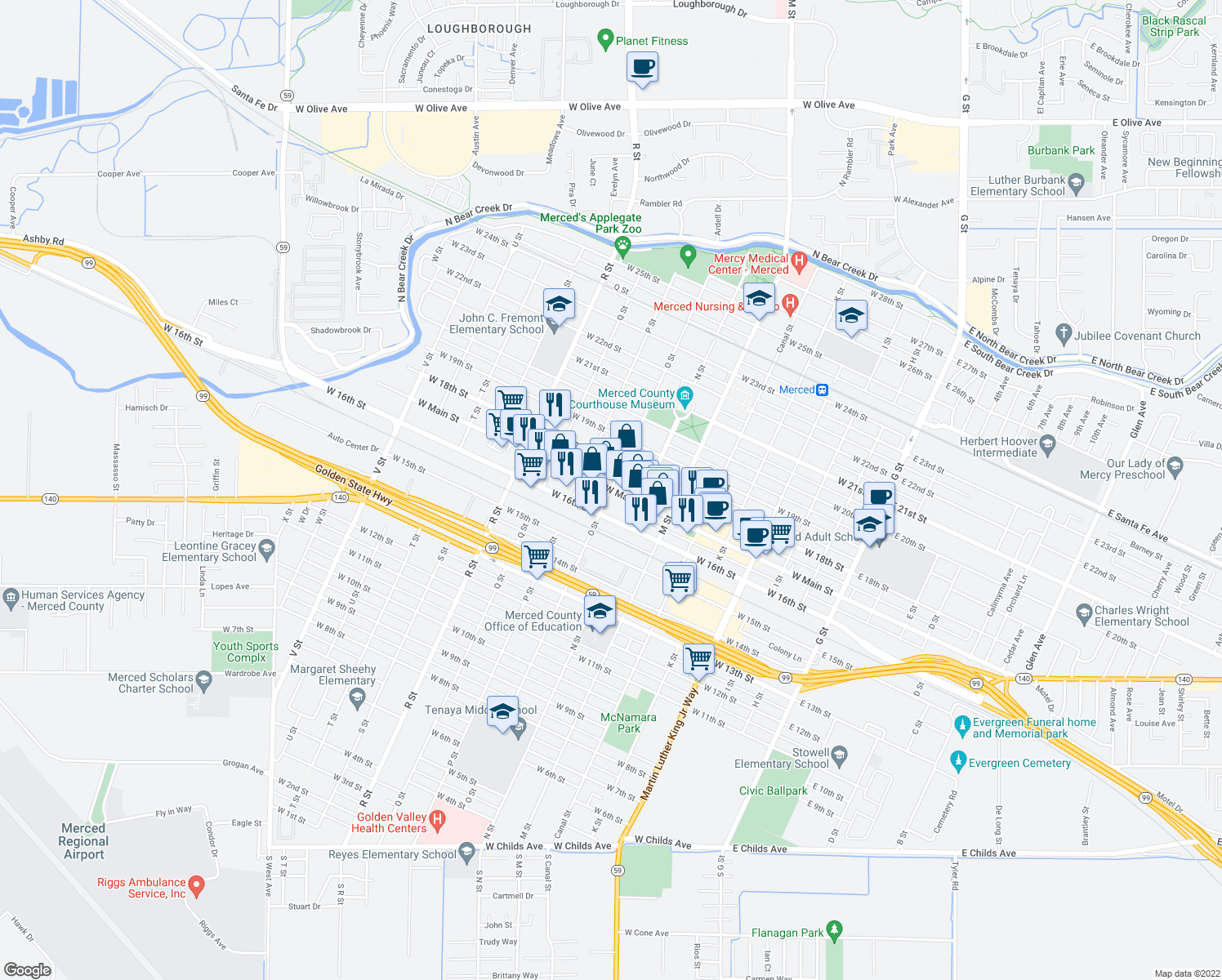 map of restaurants, bars, coffee shops, grocery stores, and more near W Main St in Merced