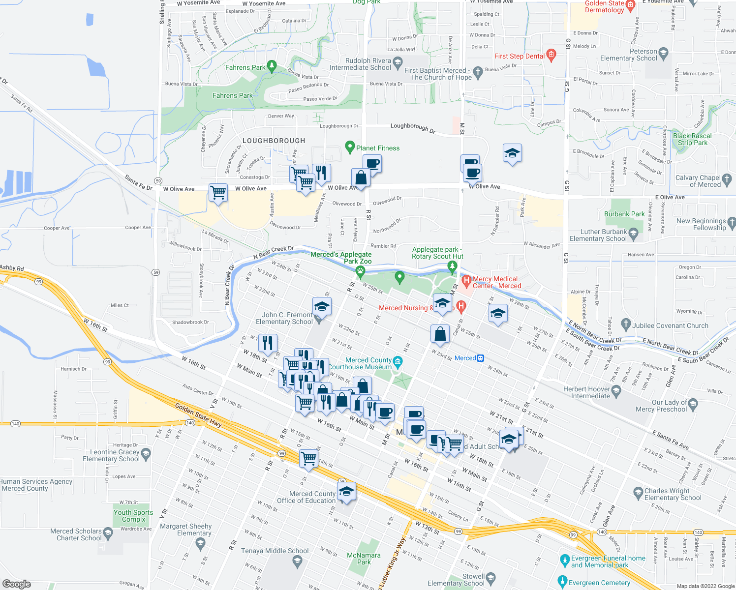 map of restaurants, bars, coffee shops, grocery stores, and more near W Santa Fe Ave in Merced