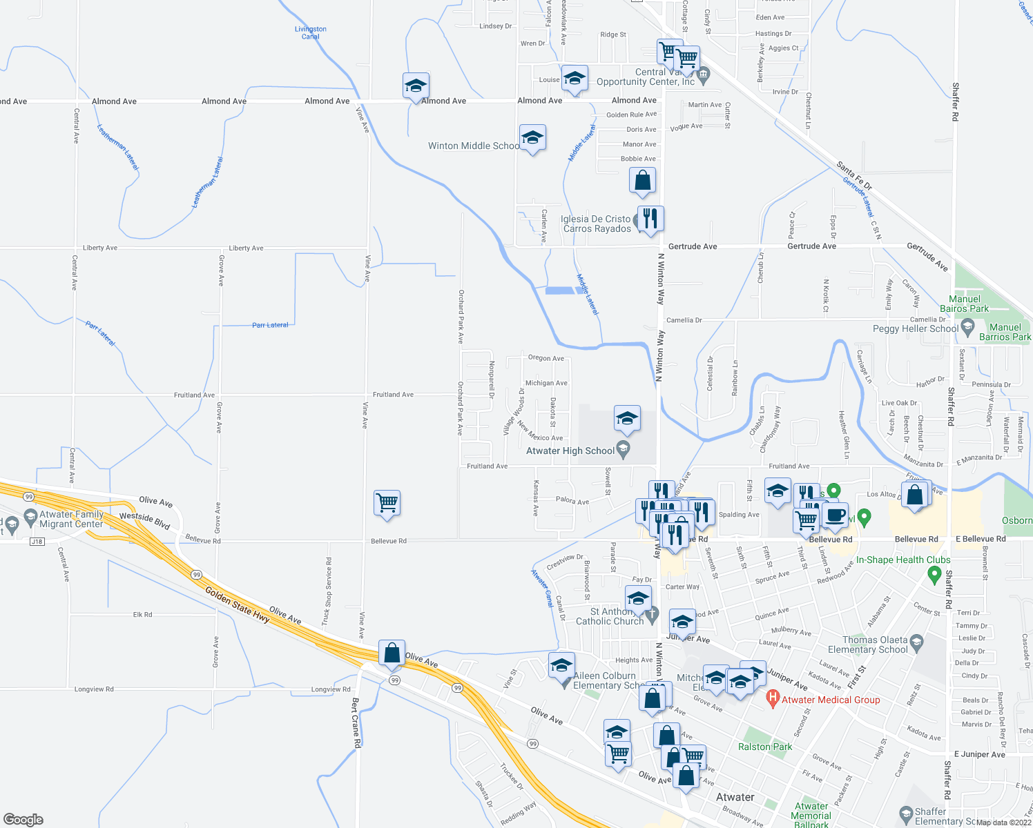 map of restaurants, bars, coffee shops, grocery stores, and more near Village Woods Dr in Atwater