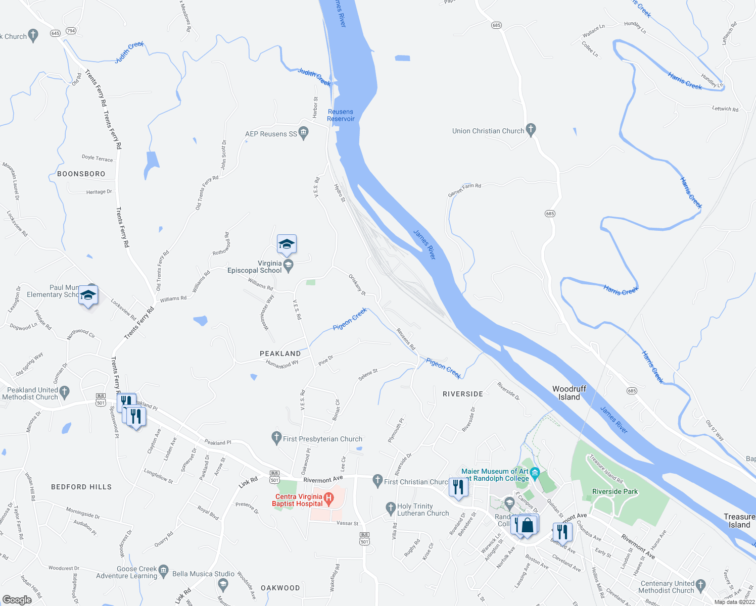 map of restaurants, bars, coffee shops, grocery stores, and more near in Lynchburg