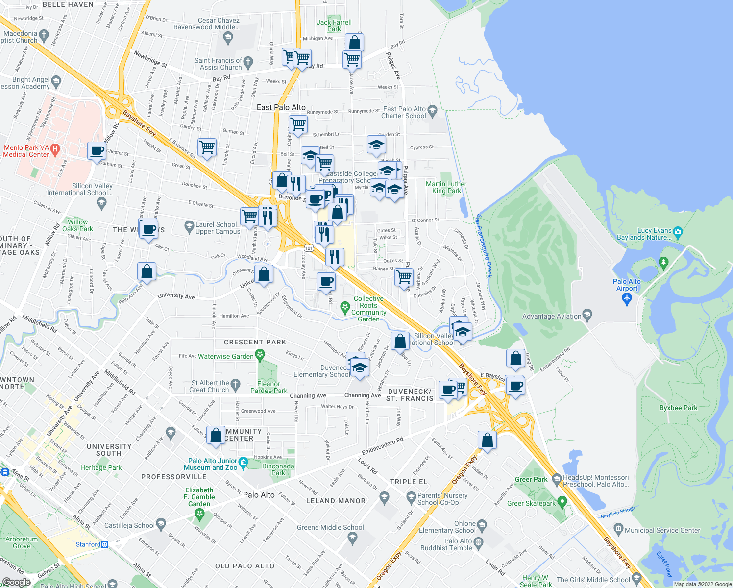 map of restaurants, bars, coffee shops, grocery stores, and more near 1817-1831 East Bayshore Road in East Palo Alto