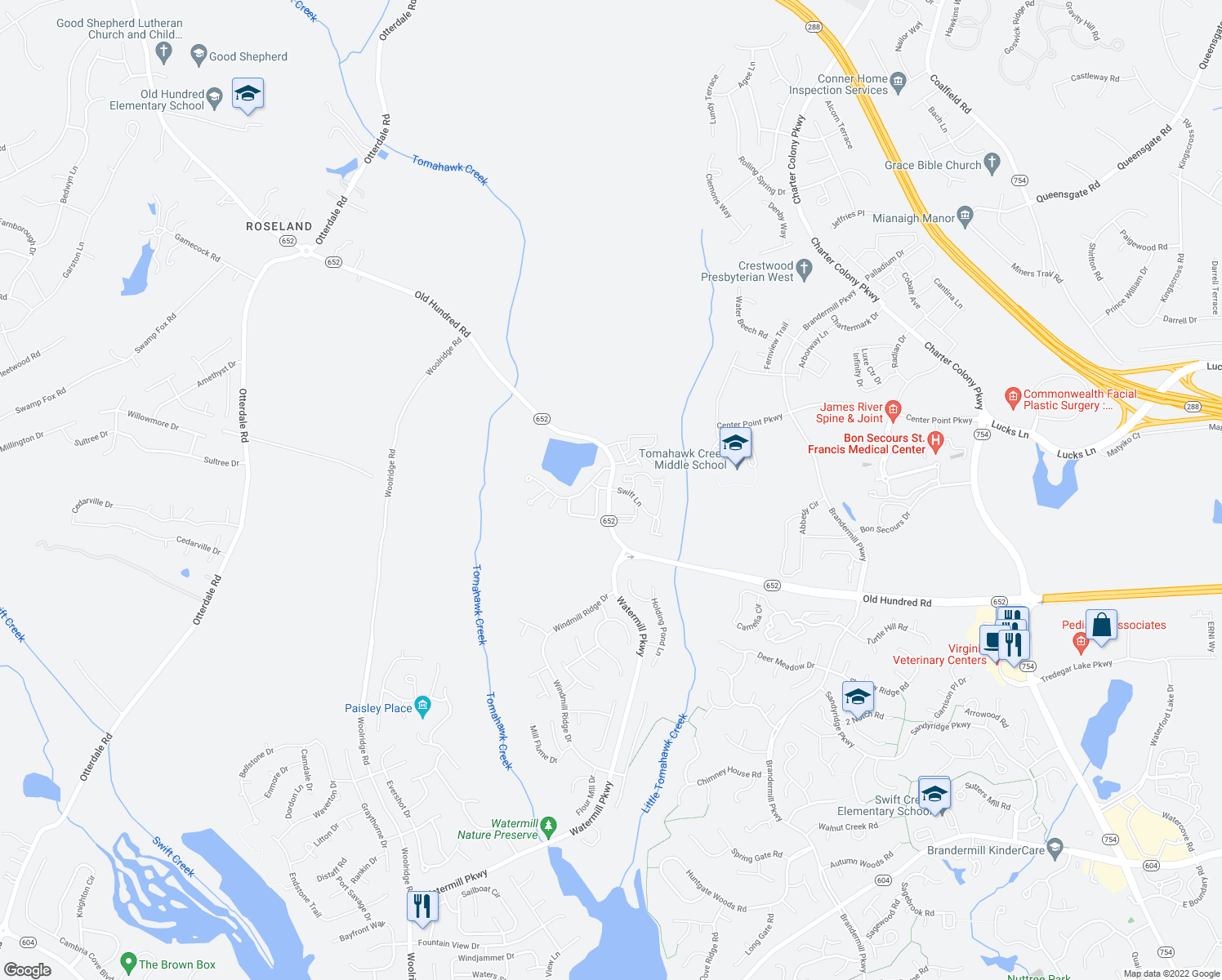 map of restaurants, bars, coffee shops, grocery stores, and more near Swift Lane in Midlothian