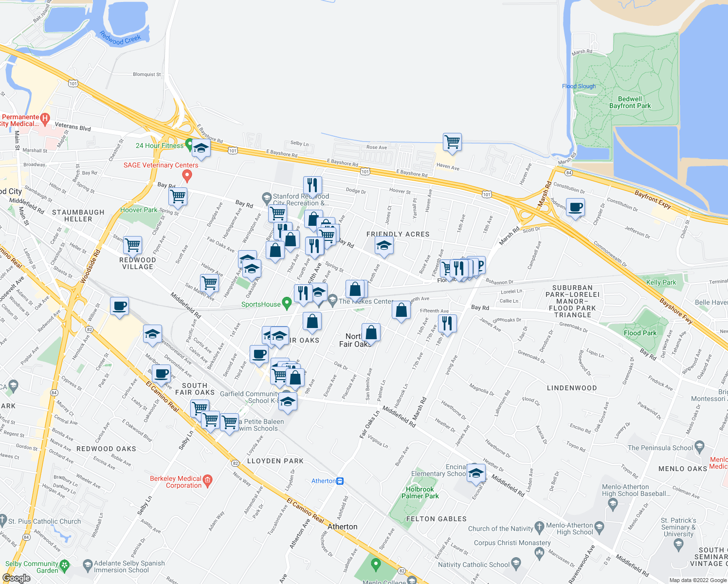 map of restaurants, bars, coffee shops, grocery stores, and more near 770 9th Ave in Redwood City
