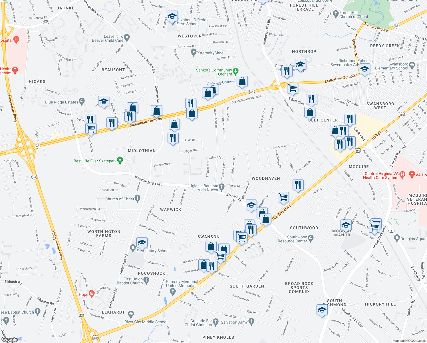 map of restaurants, bars, coffee shops, grocery stores, and more near 647 Queen Anne Drive in Richmond