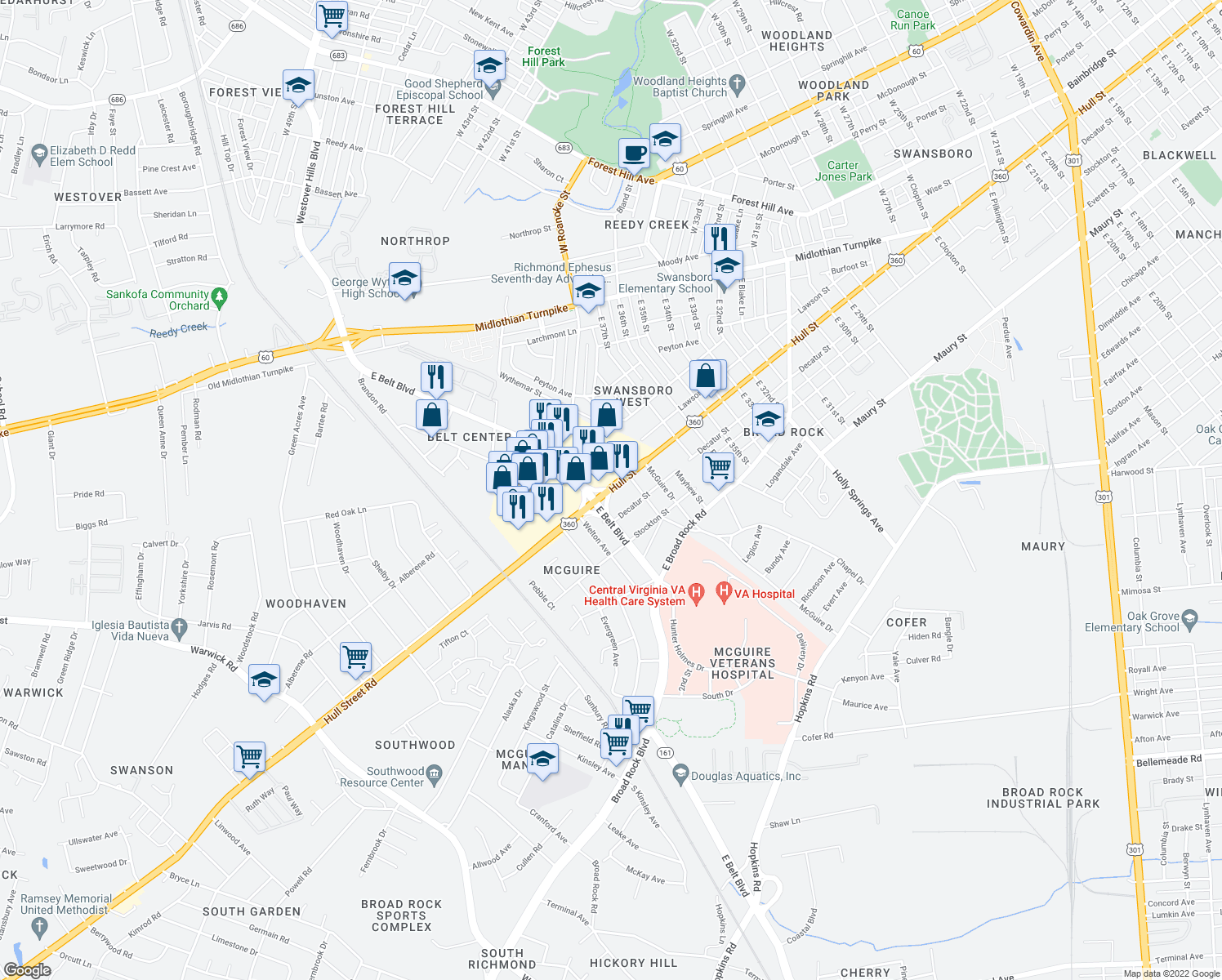 map of restaurants, bars, coffee shops, grocery stores, and more near 5320 Hull St in Richmond