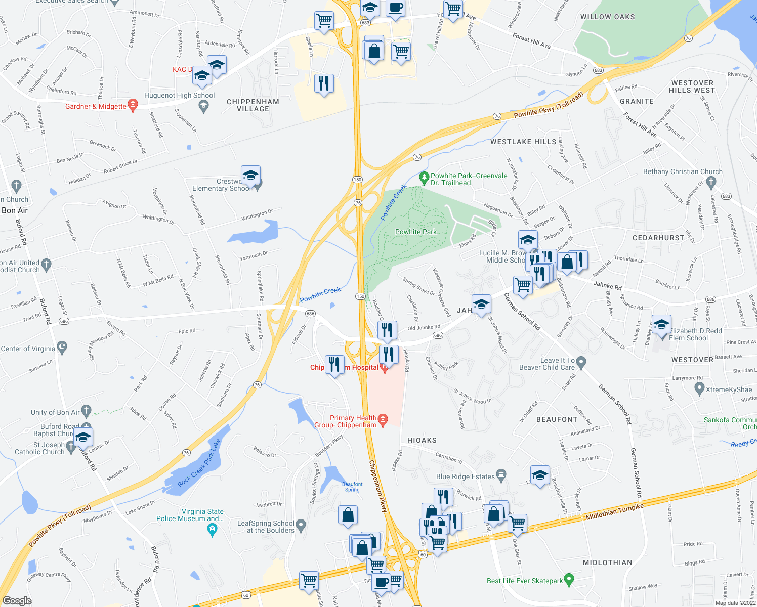 map of restaurants, bars, coffee shops, grocery stores, and more near 1305 Boulder Creek Road in Richmond