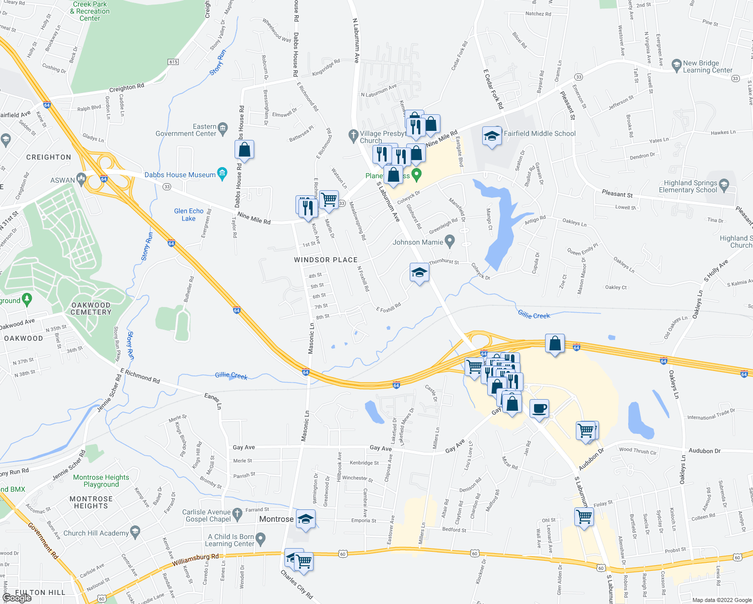 map of restaurants, bars, coffee shops, grocery stores, and more near 507 N Foxhill Rd in Richmond