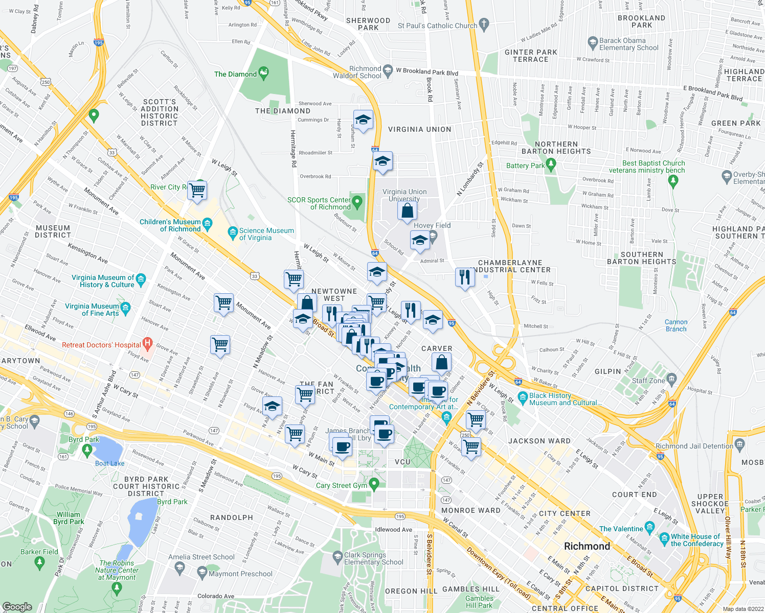 map of restaurants, bars, coffee shops, grocery stores, and more near 1517 W Leigh St in Richmond
