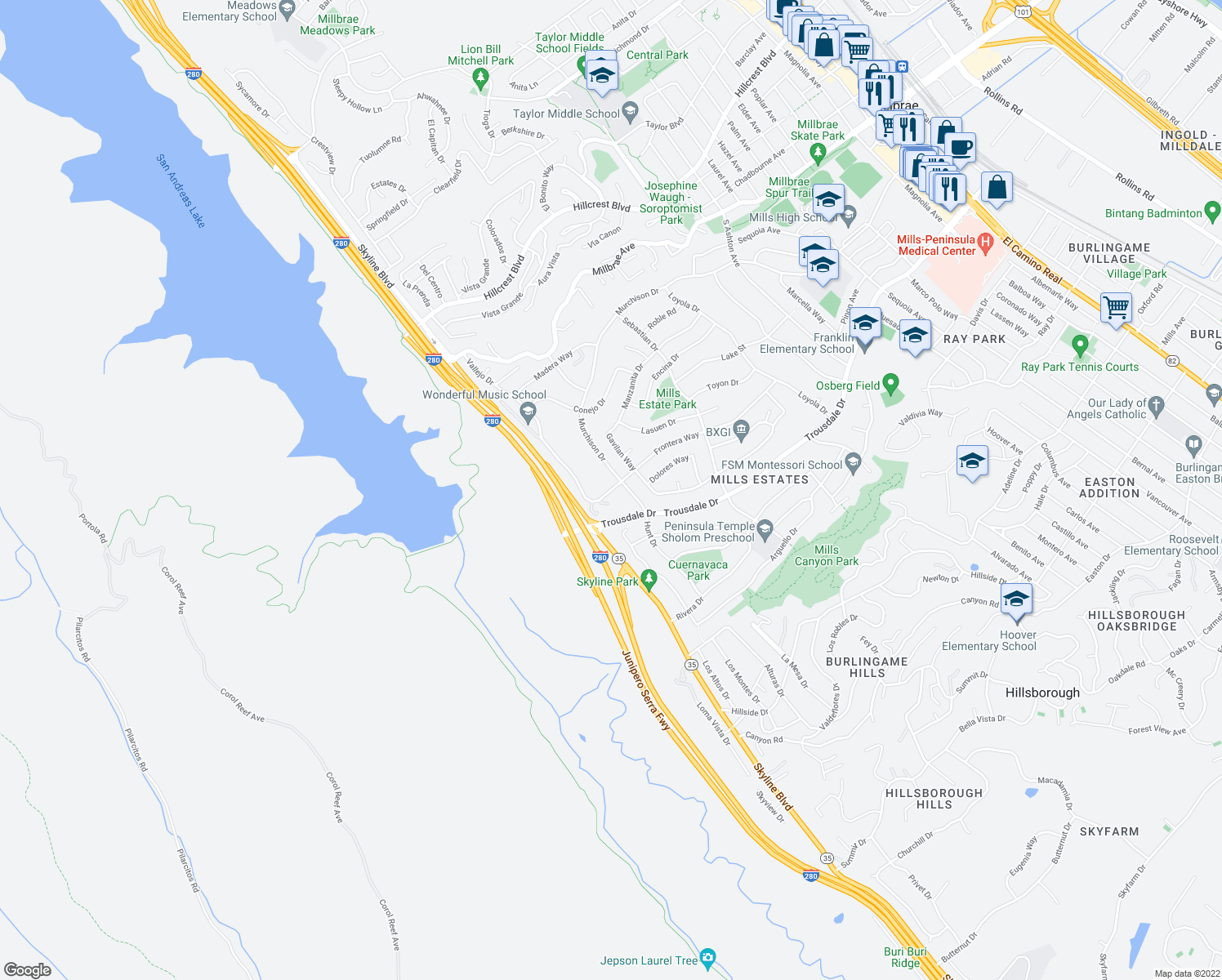 map of restaurants, bars, coffee shops, grocery stores, and more near 1857 Hunt Dr in Burlingame