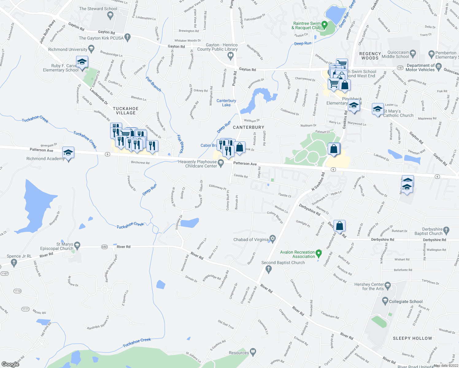 map of restaurants, bars, coffee shops, grocery stores, and more near 10343-10395 Castile Road in Henrico