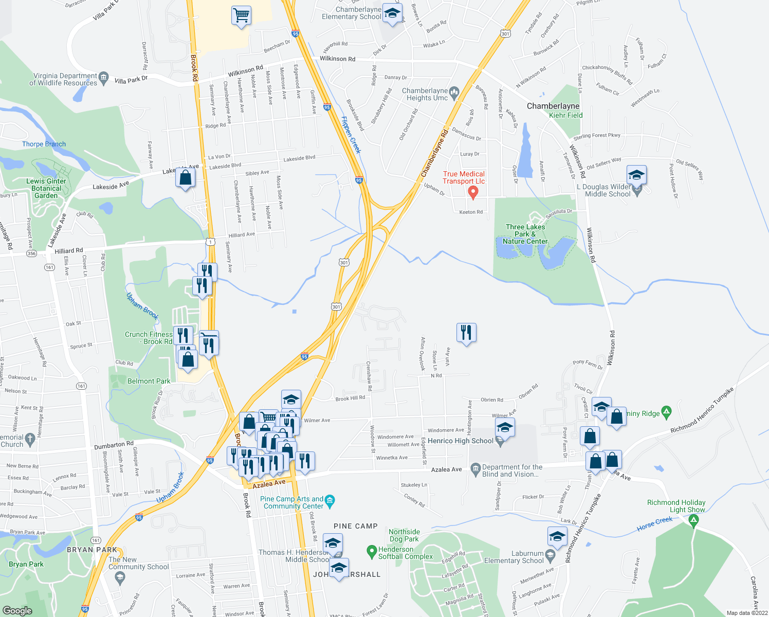 map of restaurants, bars, coffee shops, grocery stores, and more near 5854-5898 Grammarcy Circle in Richmond