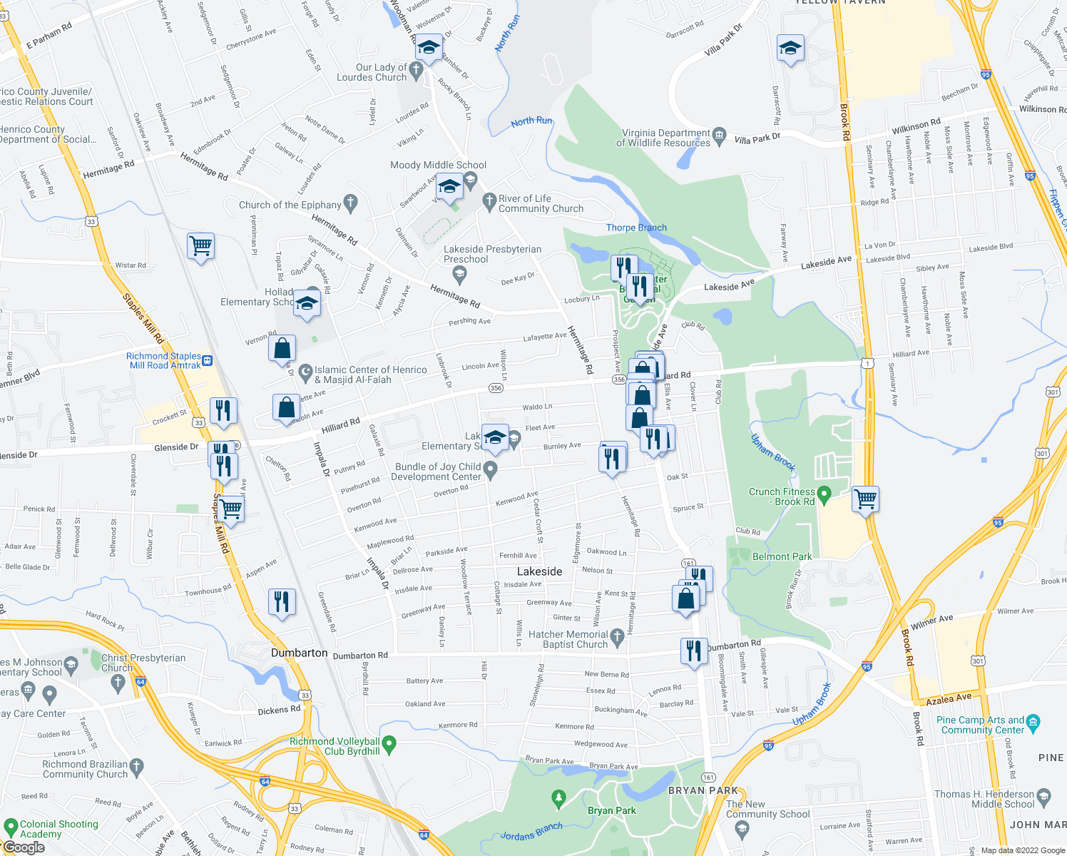 map of restaurants, bars, coffee shops, grocery stores, and more near 6701-6799 Cedar Croft St in Henrico
