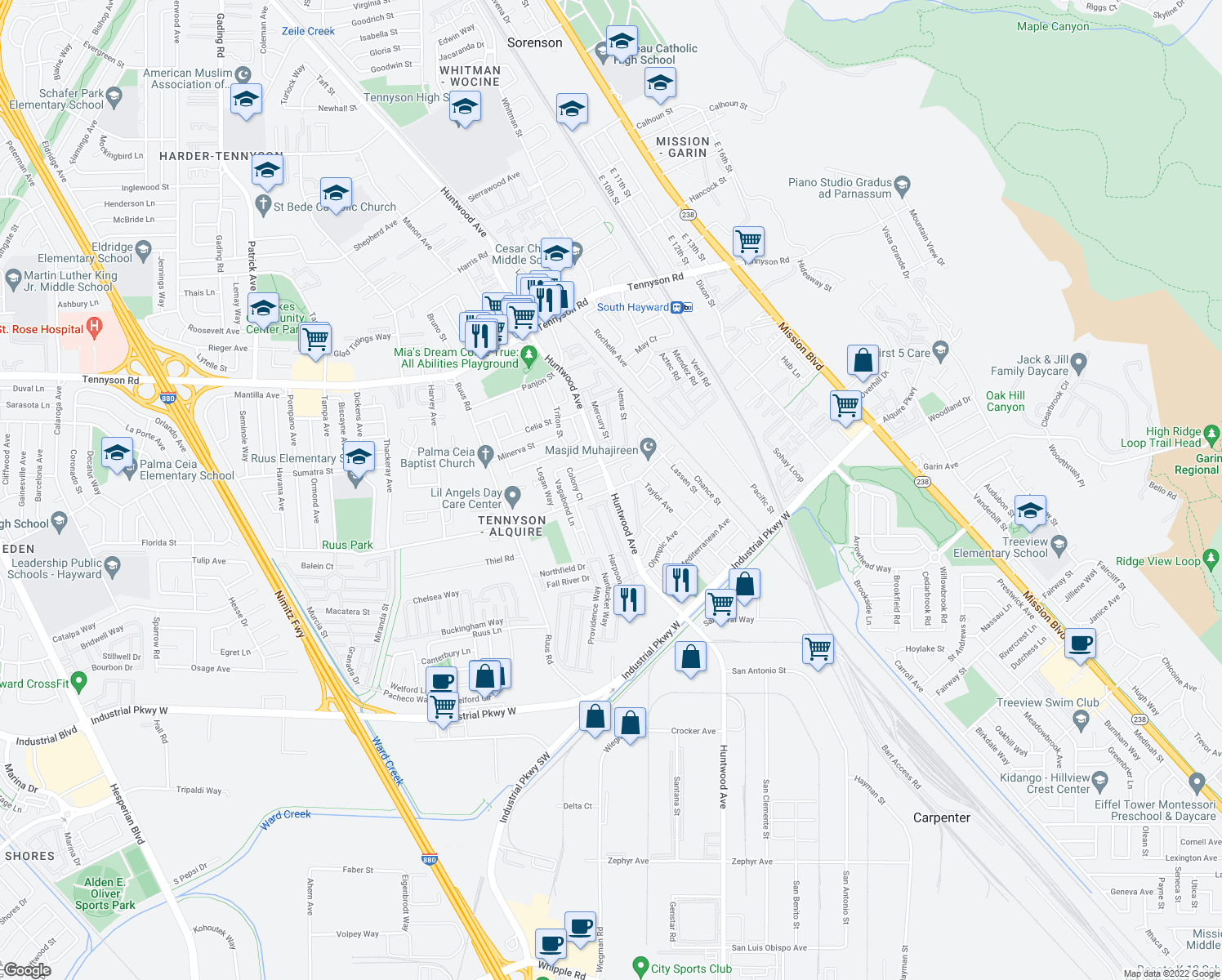 map of restaurants, bars, coffee shops, grocery stores, and more near 29079 Huntwood Ave in Hayward