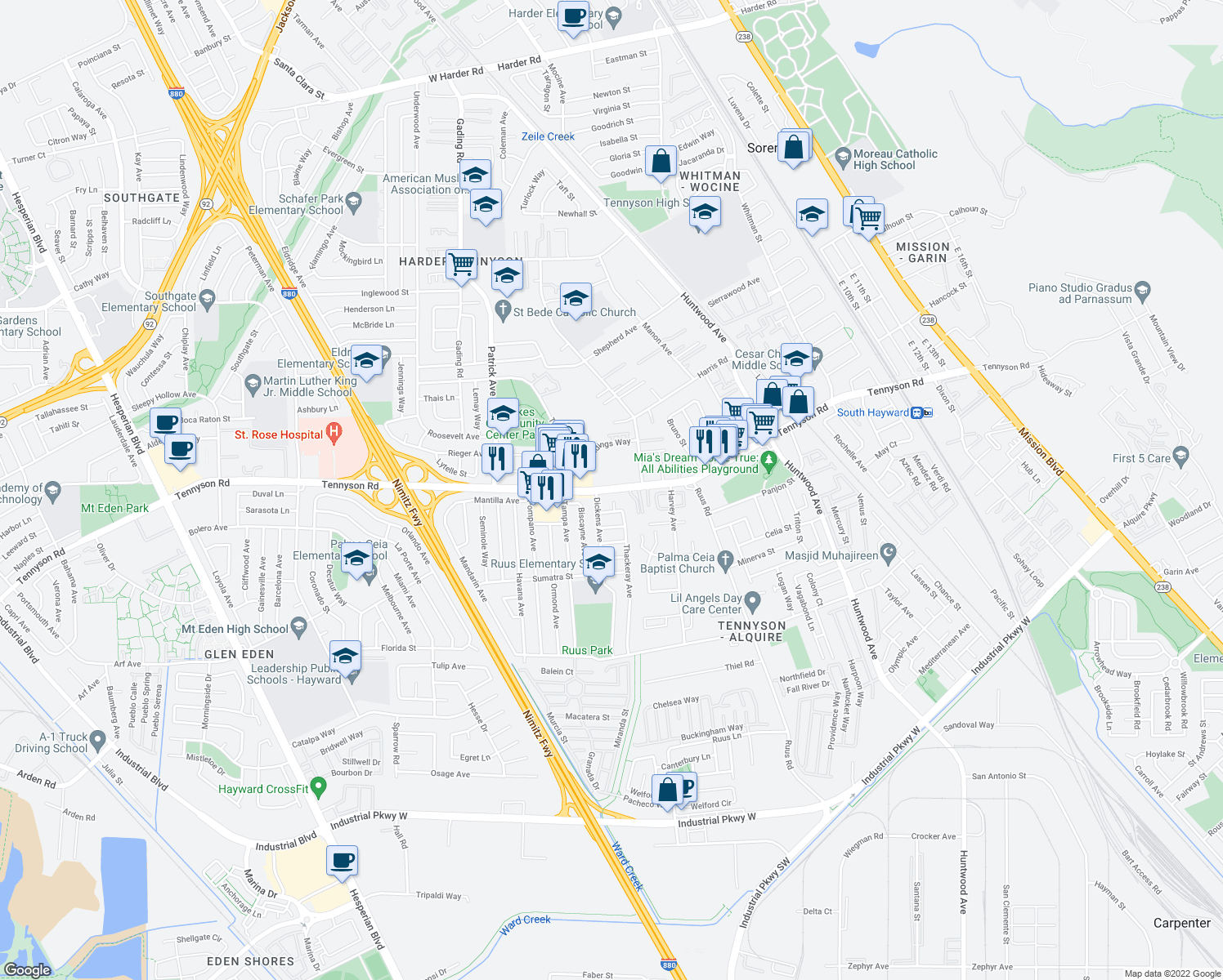 map of restaurants, bars, coffee shops, grocery stores, and more near 963 W Tennyson Rd in Hayward