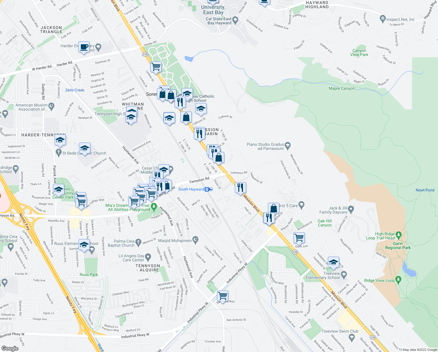 map of restaurants, bars, coffee shops, grocery stores, and more near 655 Tennyson Road in Hayward